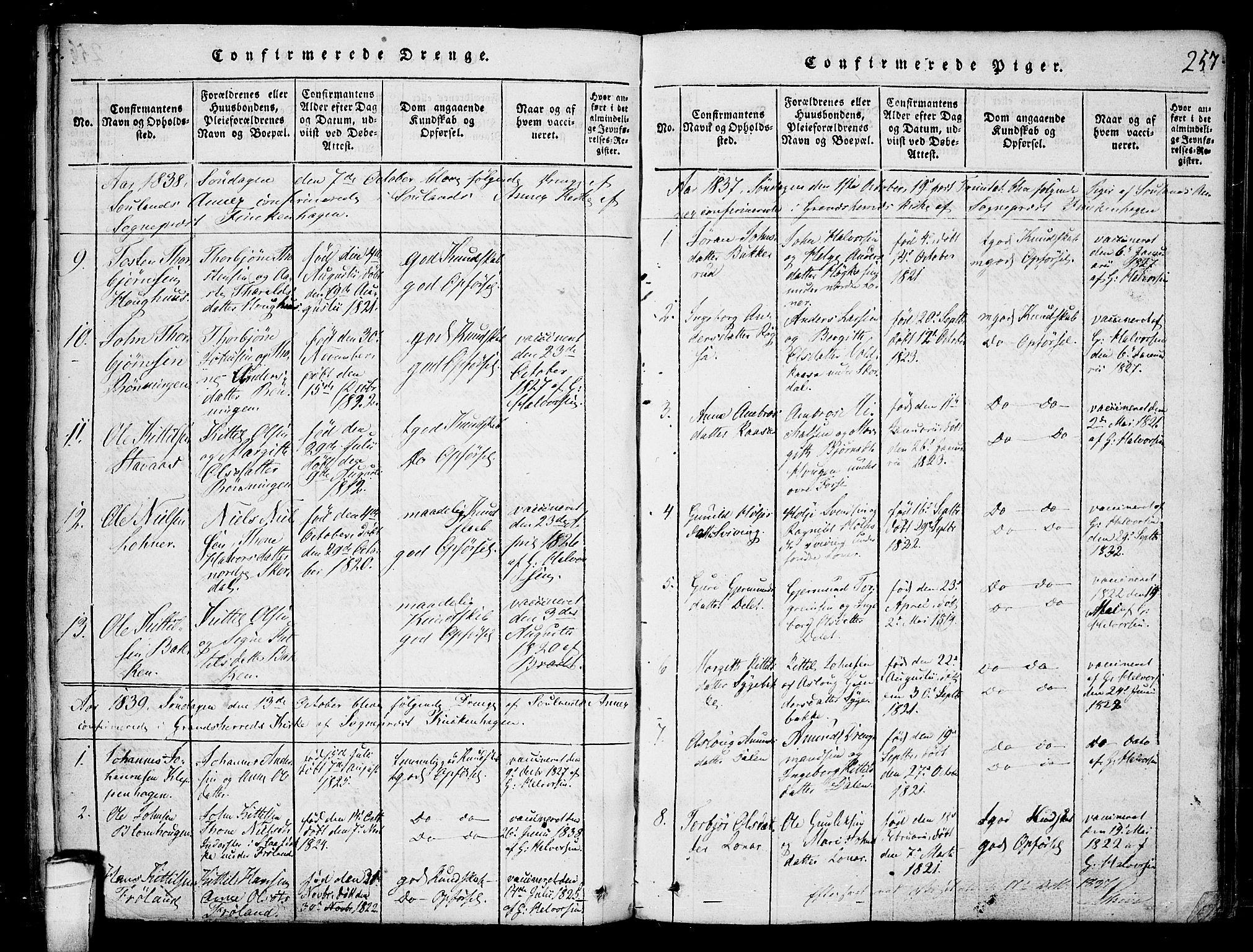 SAKO, Hjartdal kirkebøker, F/Fb/L0001: Ministerialbok nr. II 1, 1815-1843, s. 257