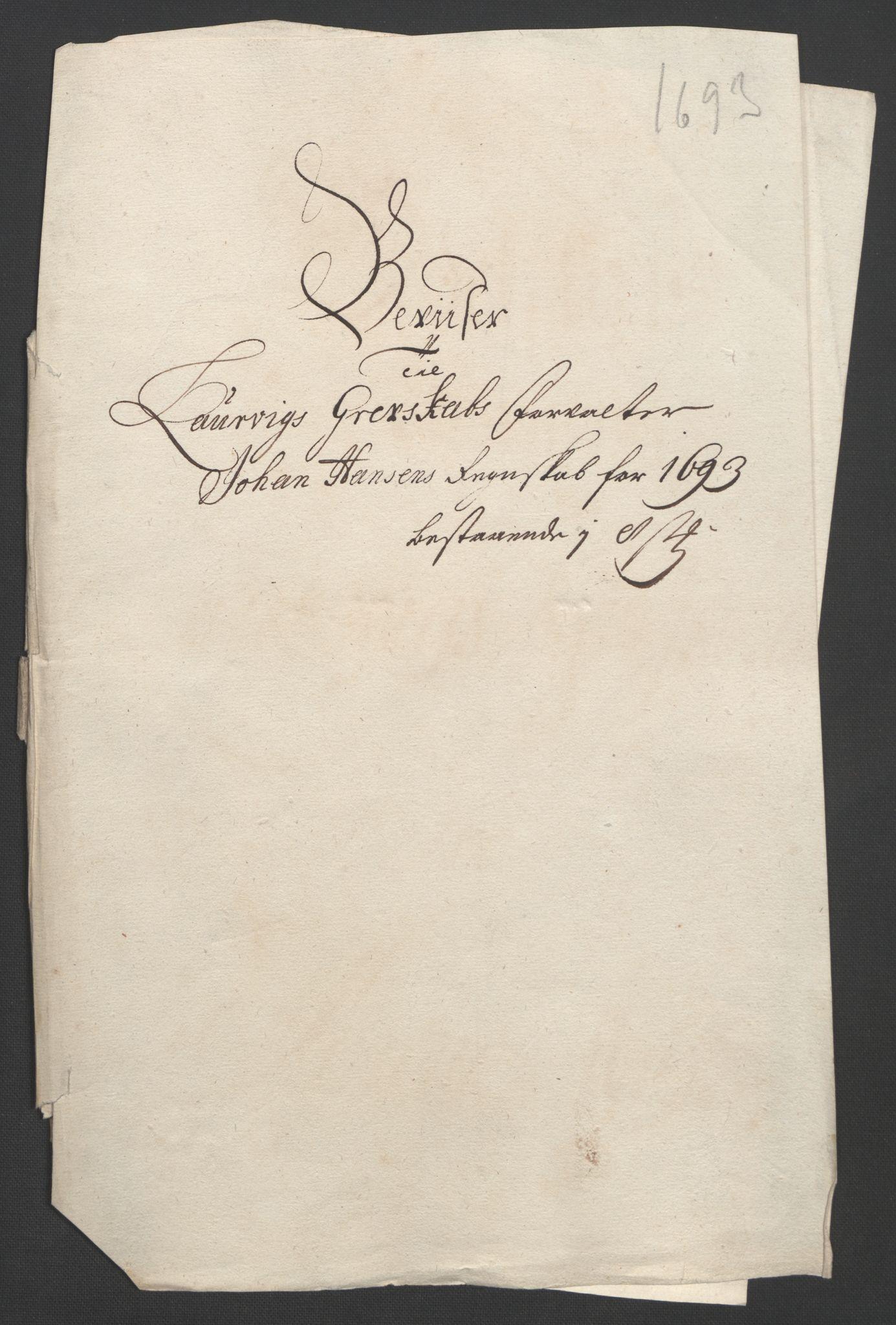 RA, Rentekammeret inntil 1814, Reviderte regnskaper, Fogderegnskap, R33/L1974: Fogderegnskap Larvik grevskap, 1693-1695, s. 64
