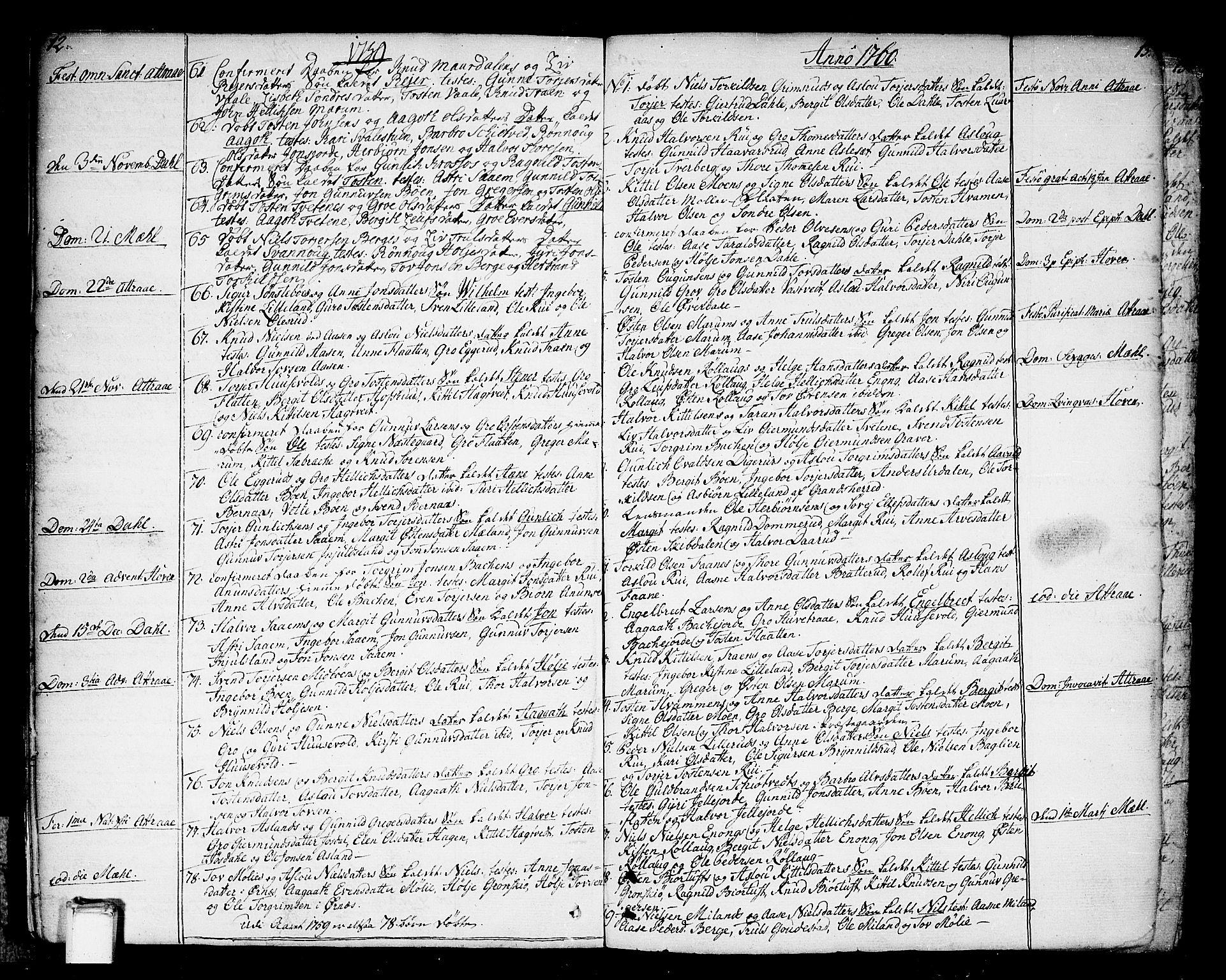 SAKO, Tinn kirkebøker, F/Fa/L0002: Ministerialbok nr. I 2, 1757-1810, s. 12-13
