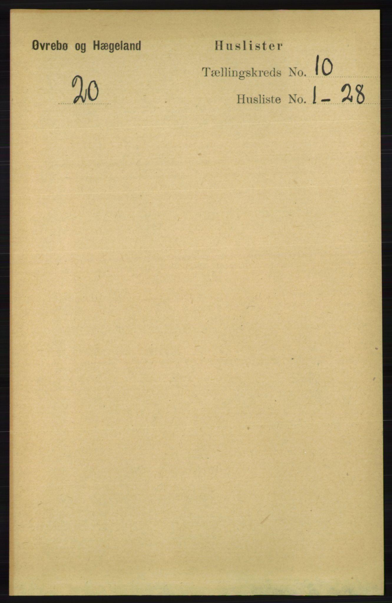 RA, Folketelling 1891 for 1016 Øvrebø og Hægeland herred, 1891, s. 2000