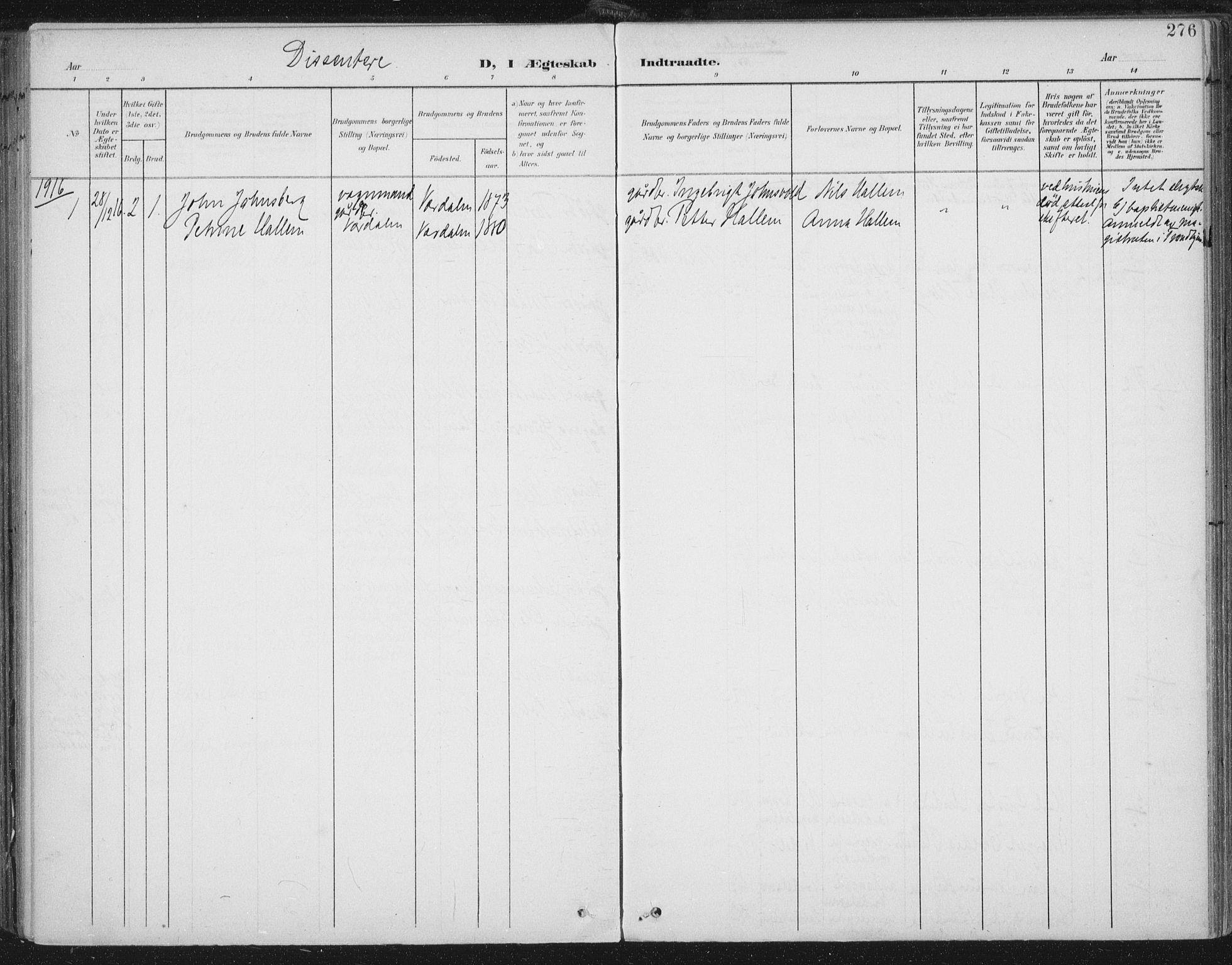 SAT, Ministerialprotokoller, klokkerbøker og fødselsregistre - Nord-Trøndelag, 723/L0246: Ministerialbok nr. 723A15, 1900-1917, s. 276