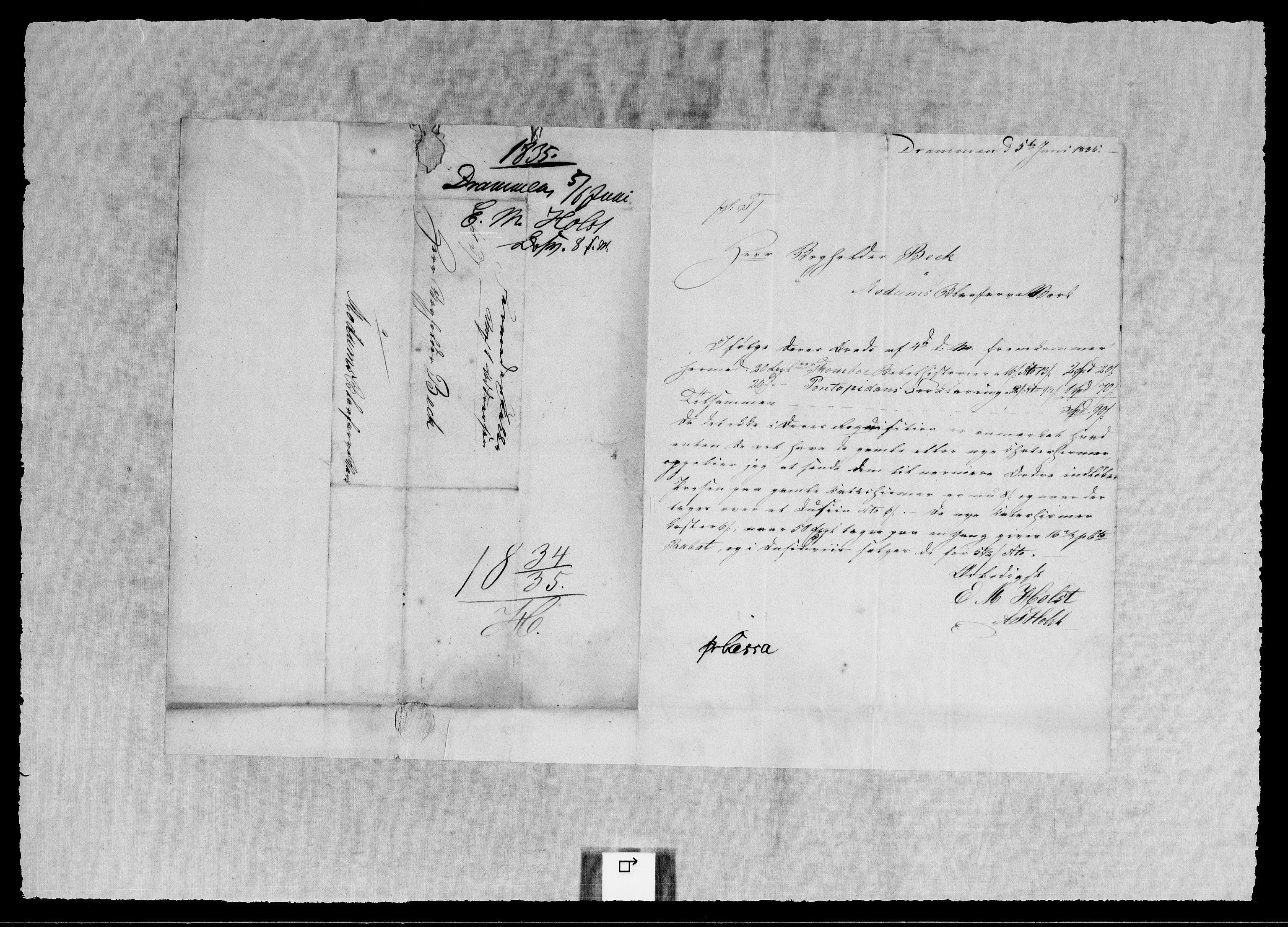 RA, Modums Blaafarveværk, G/Gb/L0114, 1834-1835, s. 2
