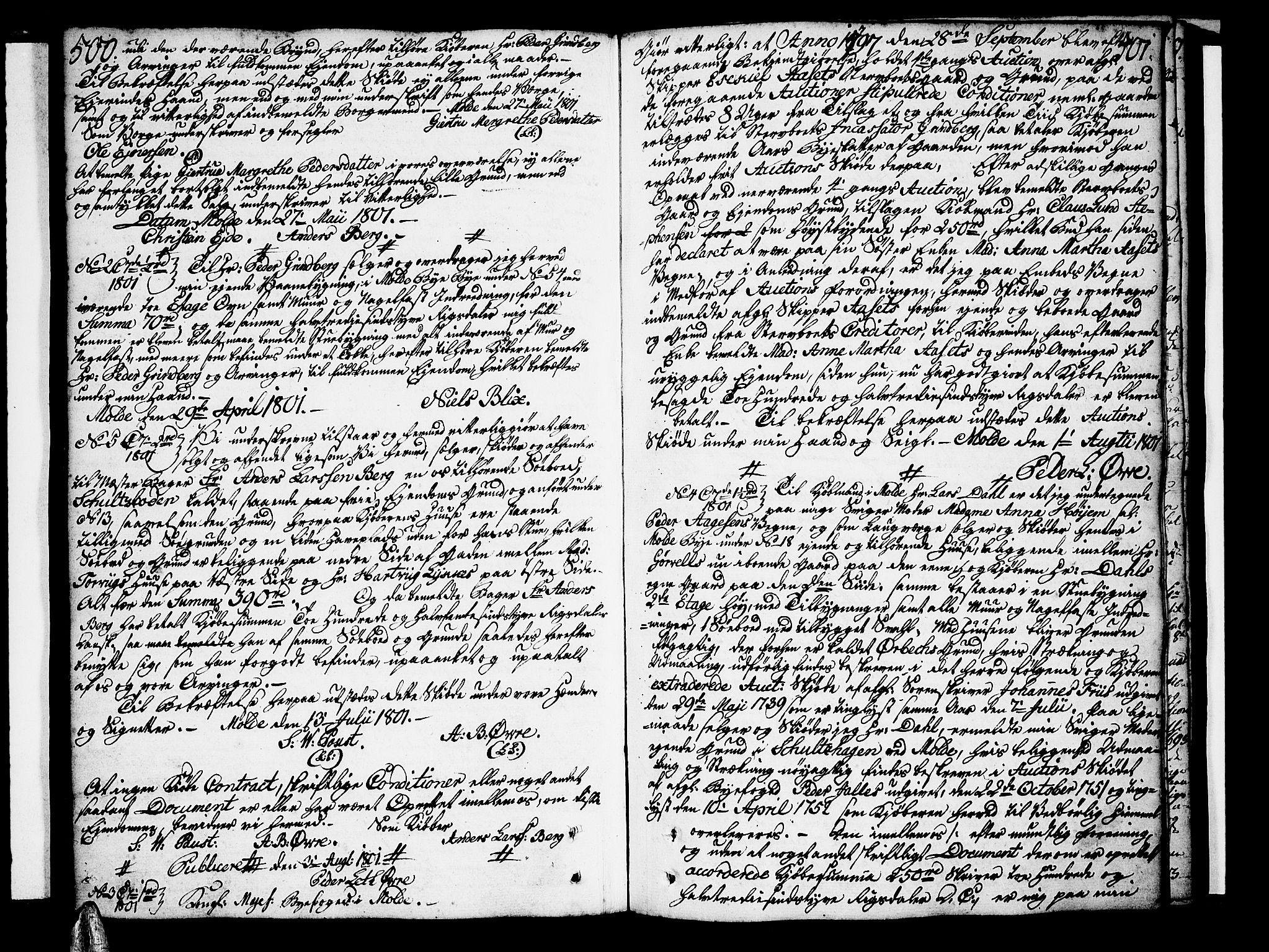 SAT, Molde byfogd, 2C/L0001: Pantebok nr. 1, 1748-1823, s. 500-501