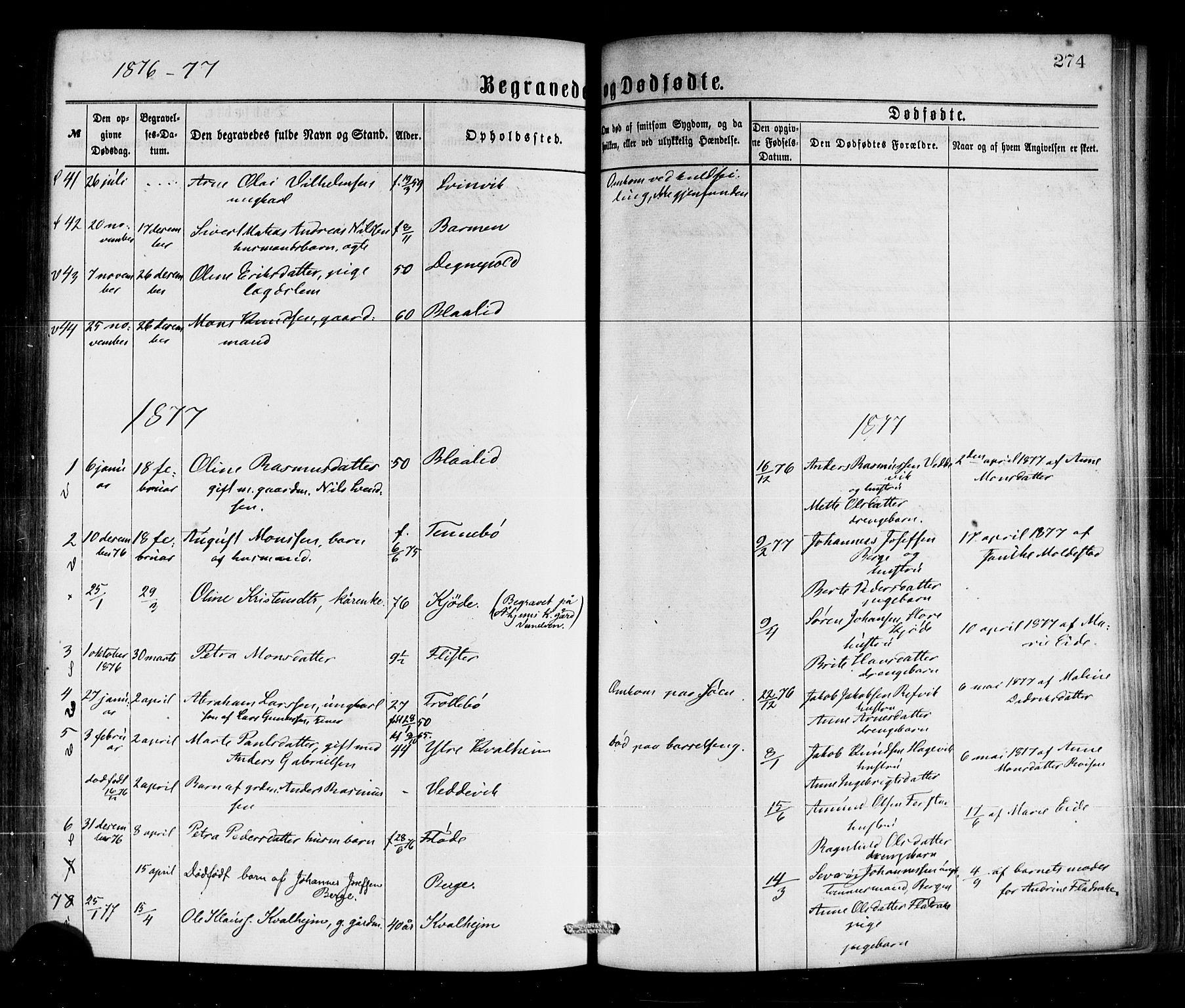 SAB, Selje sokneprestembete*, Ministerialbok nr. A 12, 1870-1880, s. 274