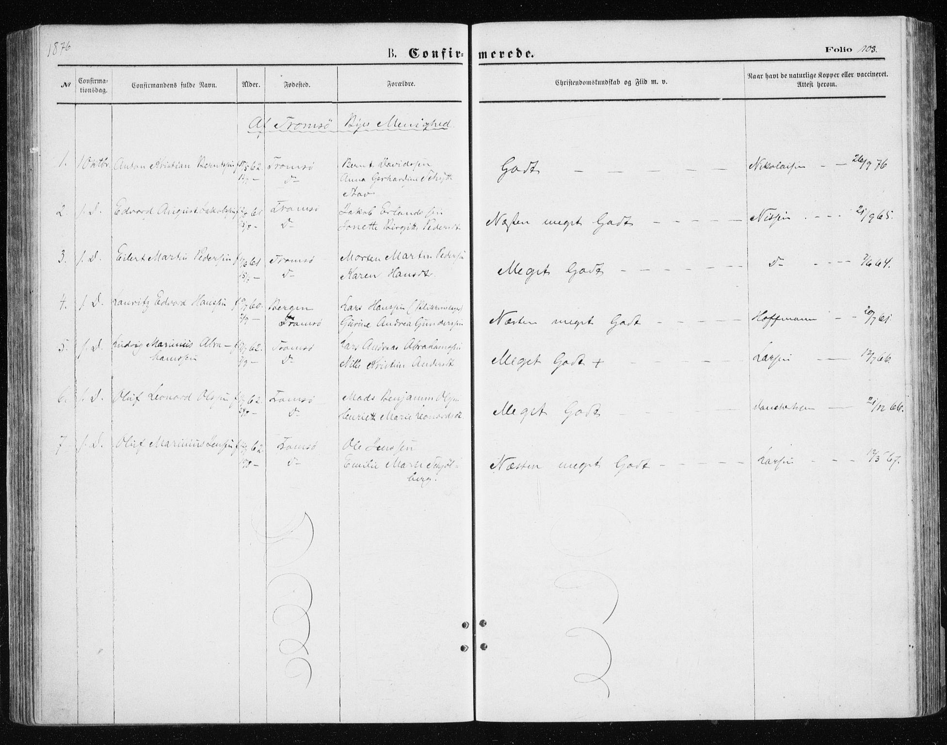 SATØ, Tromsøysund sokneprestkontor, G/Ga/L0003kirke: Ministerialbok nr. 3, 1875-1880, s. 103