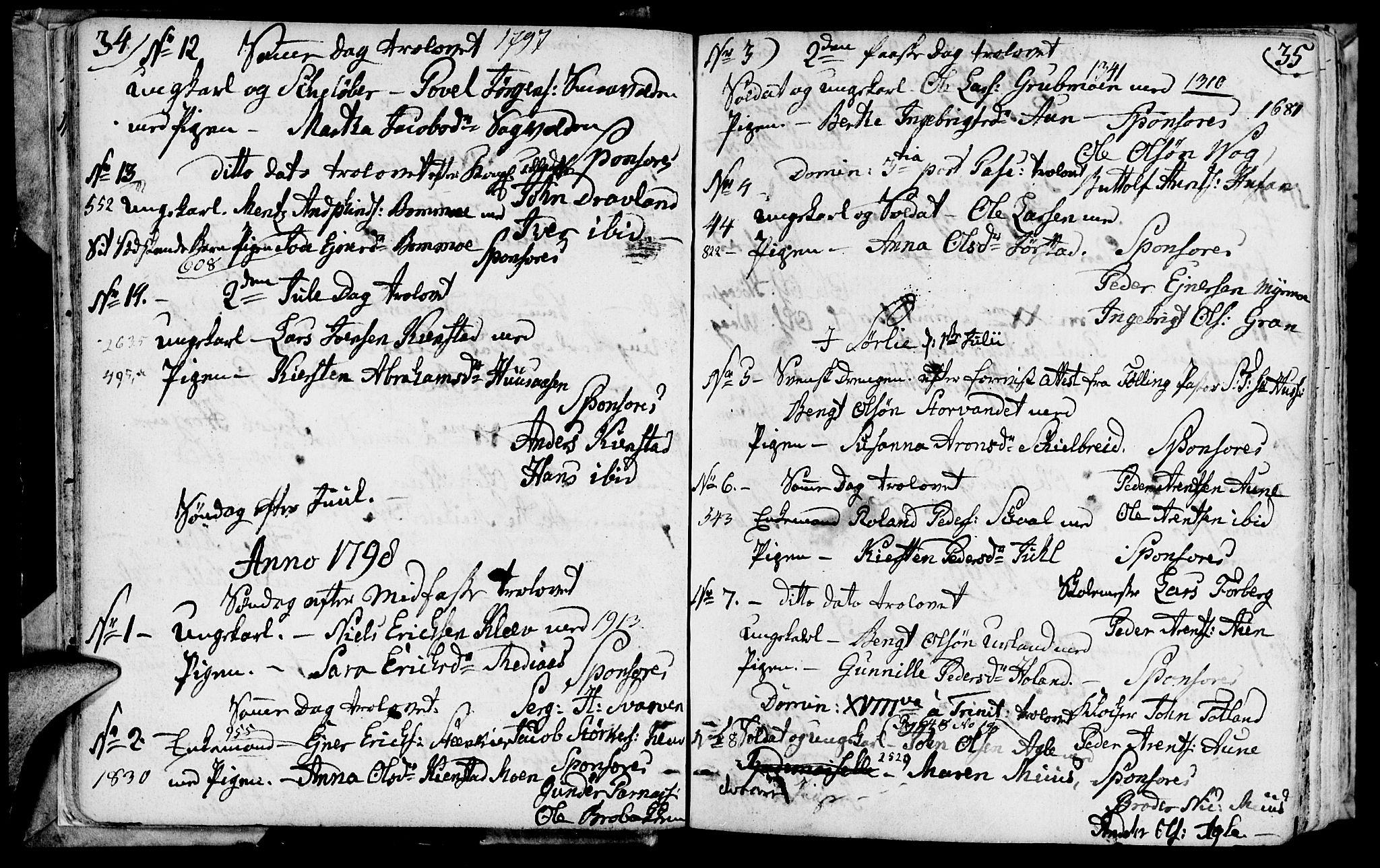 SAT, Ministerialprotokoller, klokkerbøker og fødselsregistre - Nord-Trøndelag, 749/L0468: Ministerialbok nr. 749A02, 1787-1817, s. 34-35