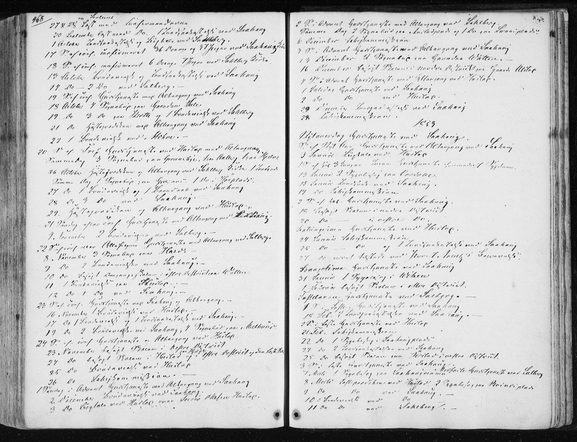 SAT, Ministerialprotokoller, klokkerbøker og fødselsregistre - Nord-Trøndelag, 730/L0280: Ministerialbok nr. 730A07 /1, 1840-1854, s. 468