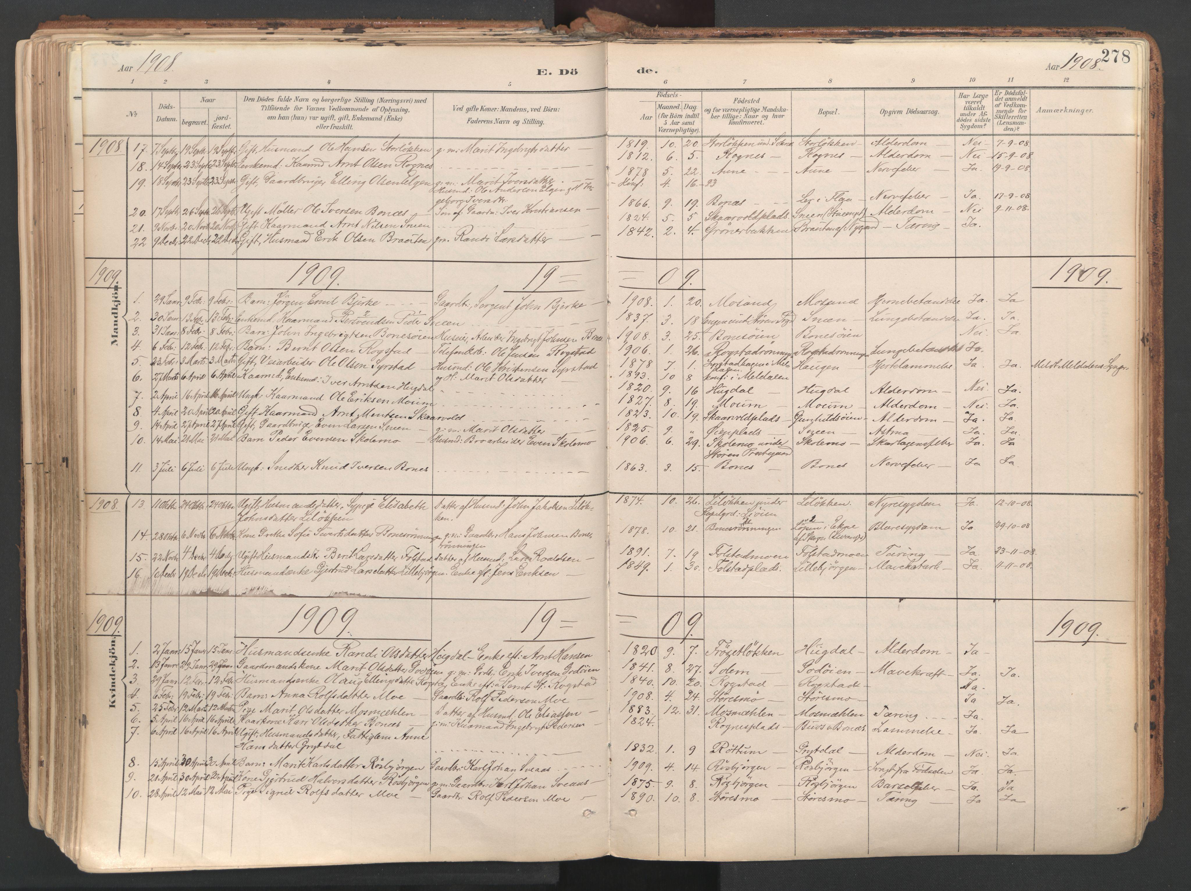 SAT, Ministerialprotokoller, klokkerbøker og fødselsregistre - Sør-Trøndelag, 687/L1004: Ministerialbok nr. 687A10, 1891-1923, s. 278