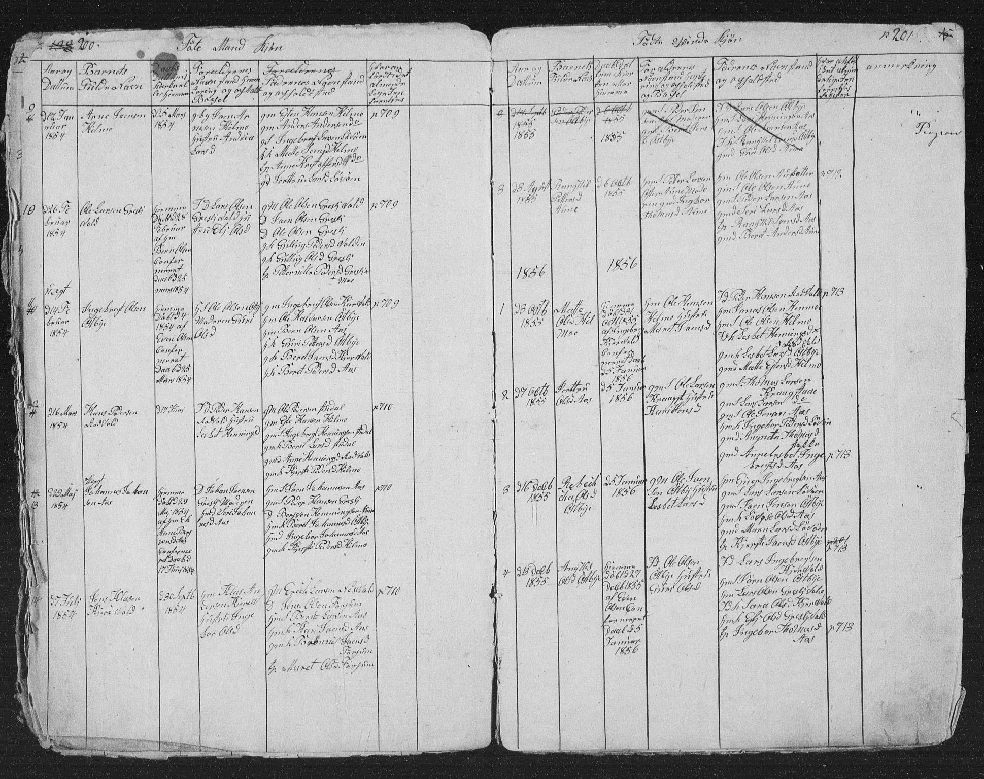 SAT, Ministerialprotokoller, klokkerbøker og fødselsregistre - Sør-Trøndelag, 698/L1165: Klokkerbok nr. 698C02, 1851-1861, s. 200-201