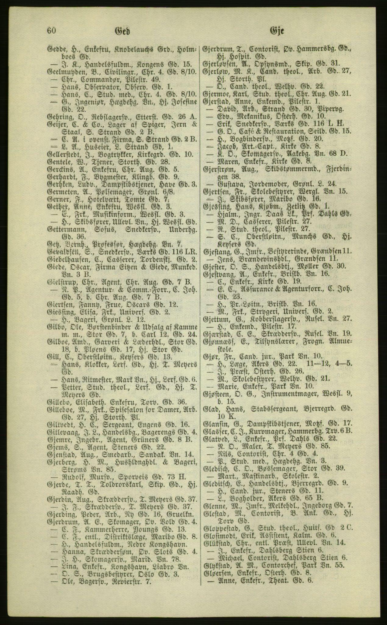 RA, Kristiania adressebok (publikasjon)*, 1881, s. 60