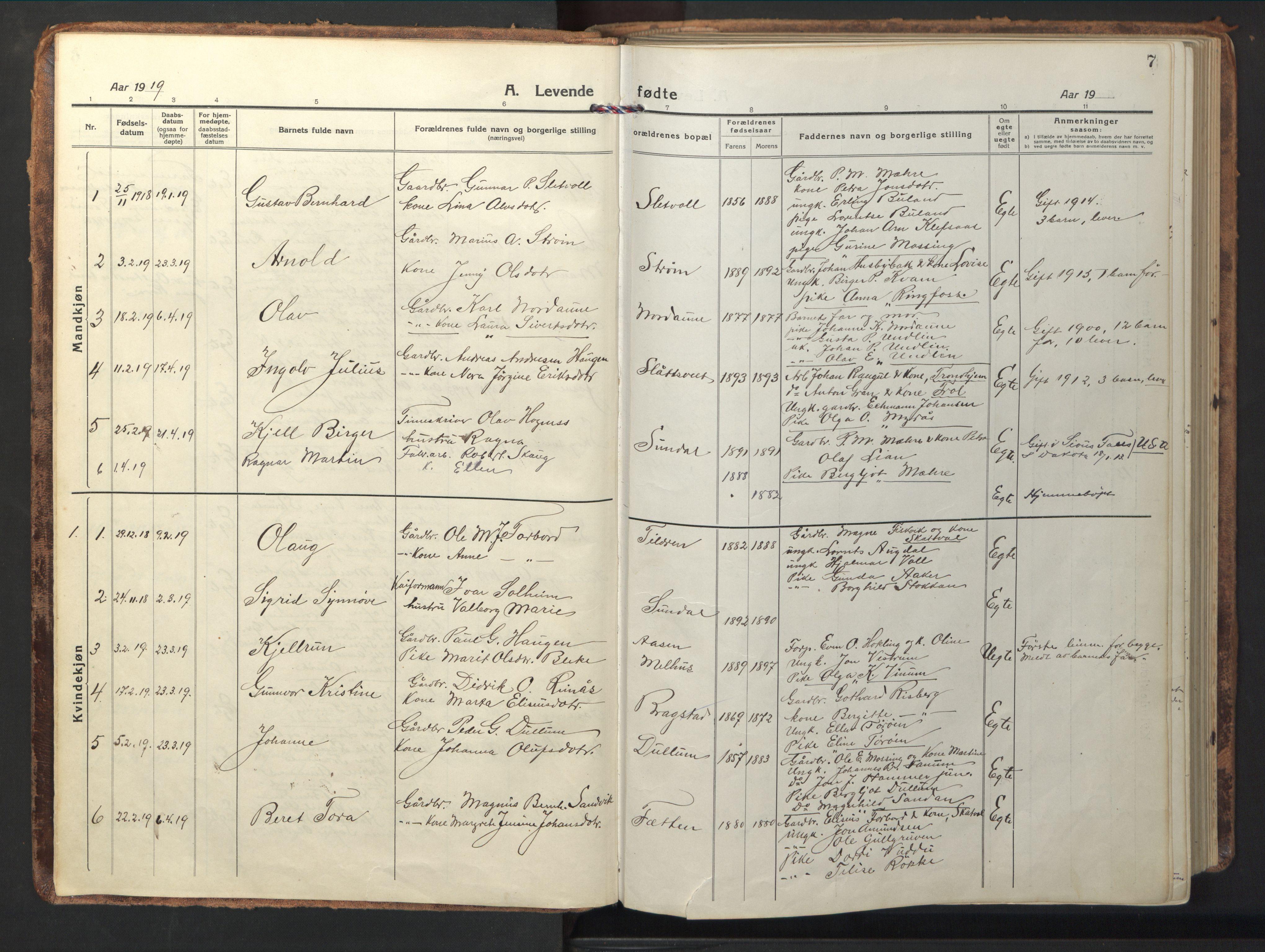 SAT, Ministerialprotokoller, klokkerbøker og fødselsregistre - Nord-Trøndelag, 714/L0136: Klokkerbok nr. 714C05, 1918-1957, s. 7