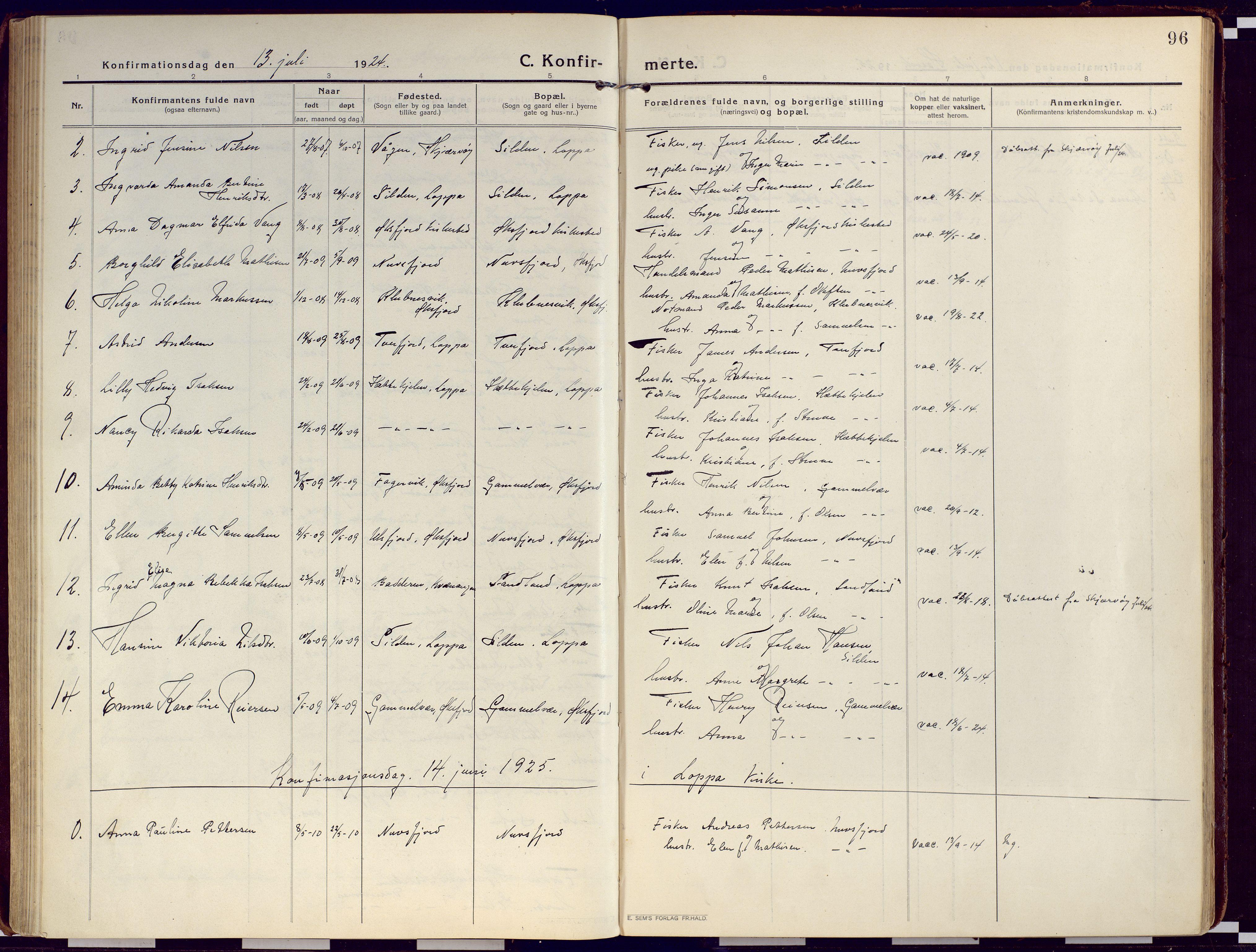SATØ, Loppa sokneprestkontor, H/Ha/L0012kirke: Ministerialbok nr. 12, 1917-1932, s. 96