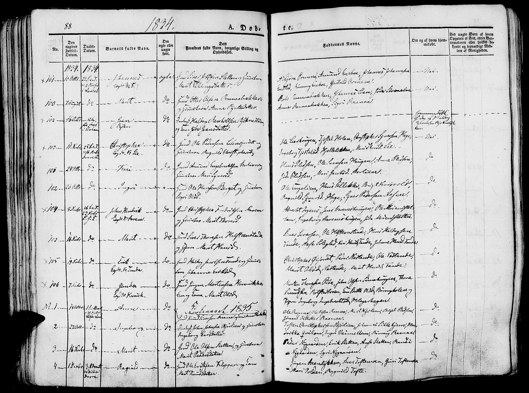 SAH, Lesja prestekontor, Ministerialbok nr. 5, 1830-1842, s. 88