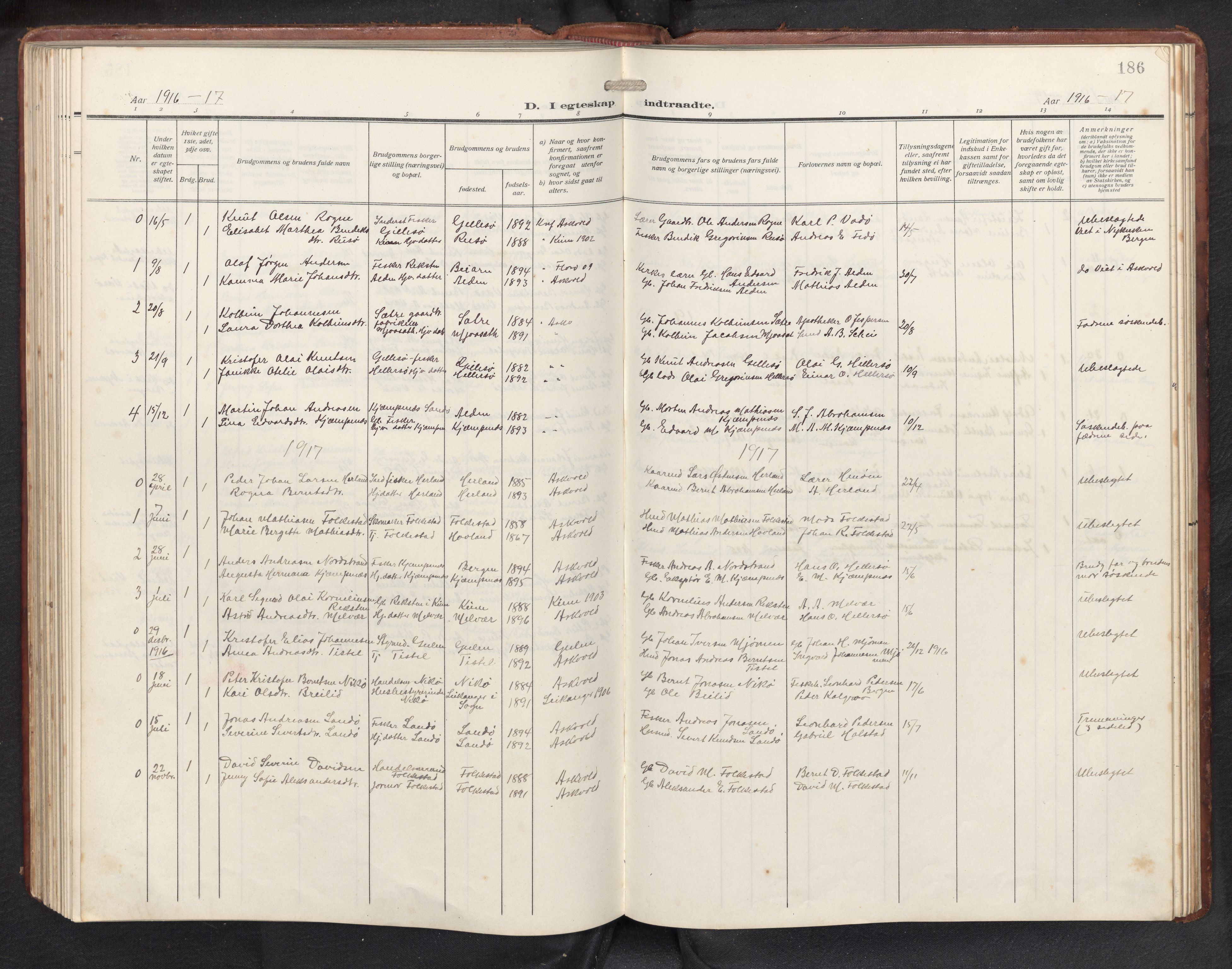 SAB, Askvoll sokneprestembete, H/Hab/Habb/L0002: Klokkerbok nr. B 2, 1910-1947, s. 185b-186a