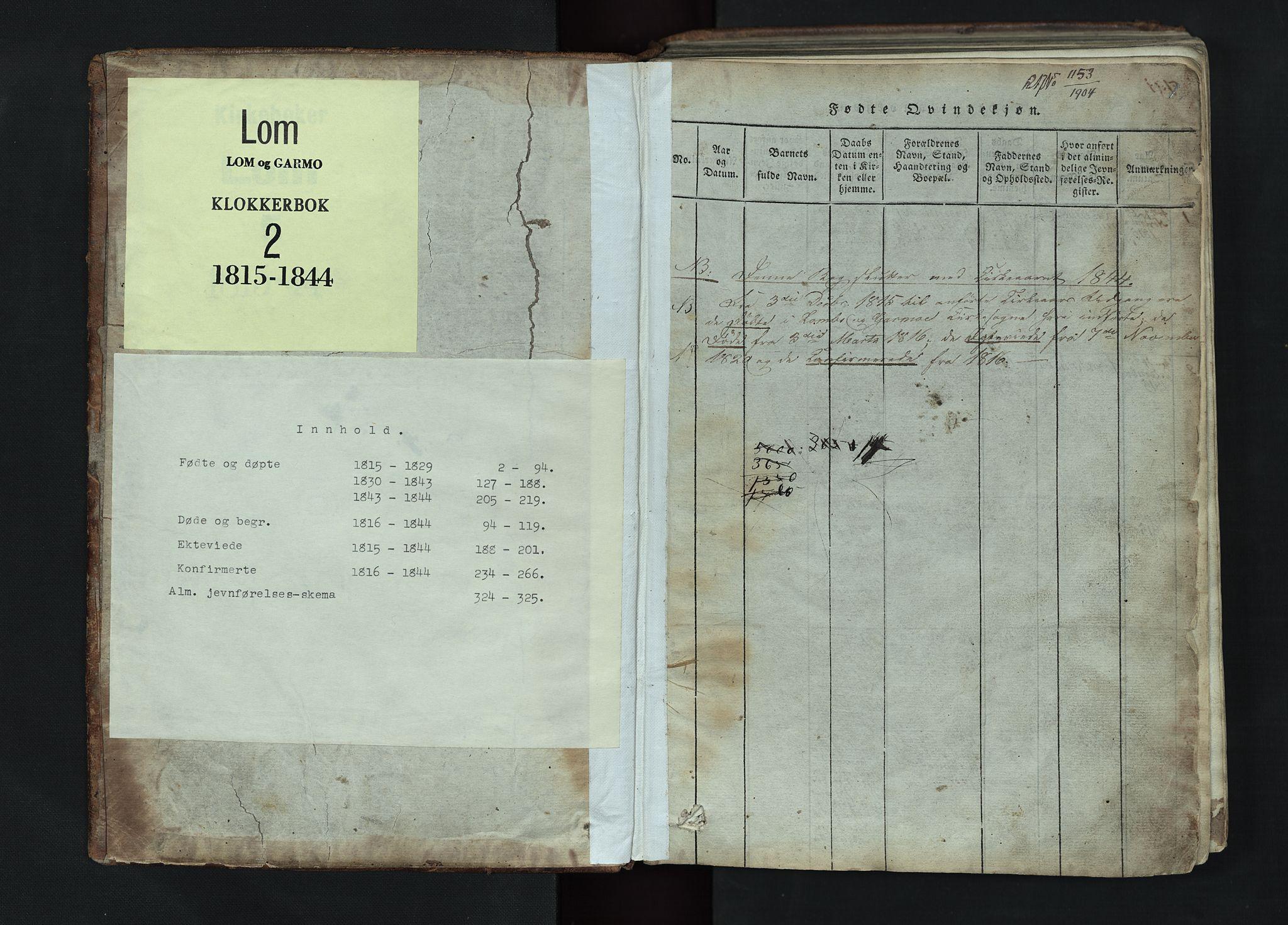 SAH, Lom prestekontor, L/L0002: Klokkerbok nr. 2, 1815-1844, s. 1