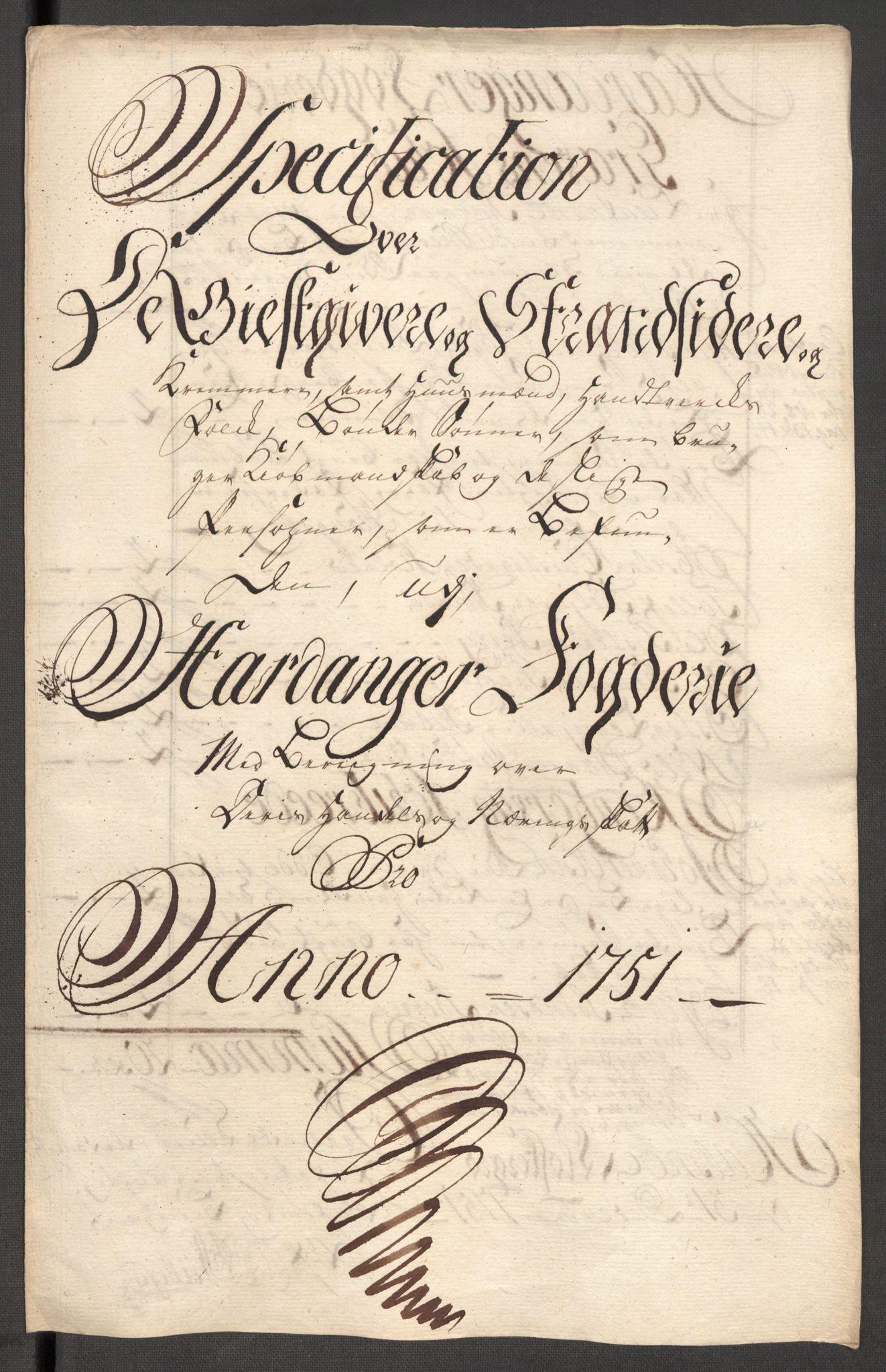 RA, Rentekammeret inntil 1814, Reviderte regnskaper, Fogderegnskap, R48/L3056: Fogderegnskap Sunnhordland og Hardanger, 1751, s. 267