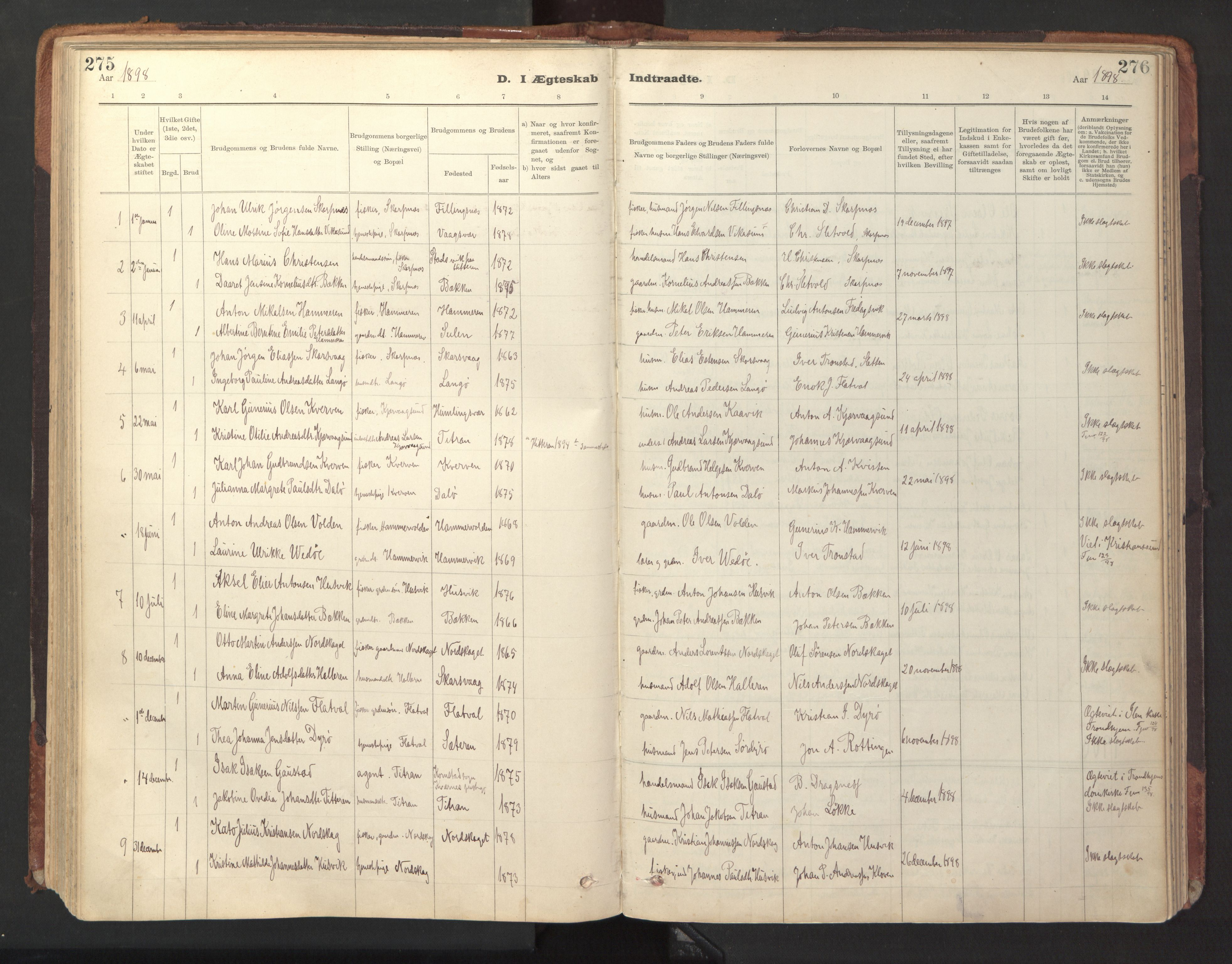 SAT, Ministerialprotokoller, klokkerbøker og fødselsregistre - Sør-Trøndelag, 641/L0596: Ministerialbok nr. 641A02, 1898-1915, s. 275-276