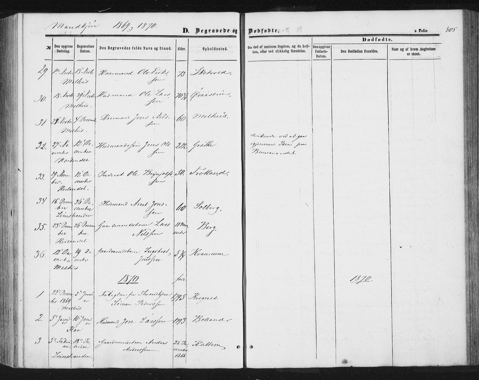 SAT, Ministerialprotokoller, klokkerbøker og fødselsregistre - Sør-Trøndelag, 691/L1077: Ministerialbok nr. 691A09, 1862-1873, s. 405
