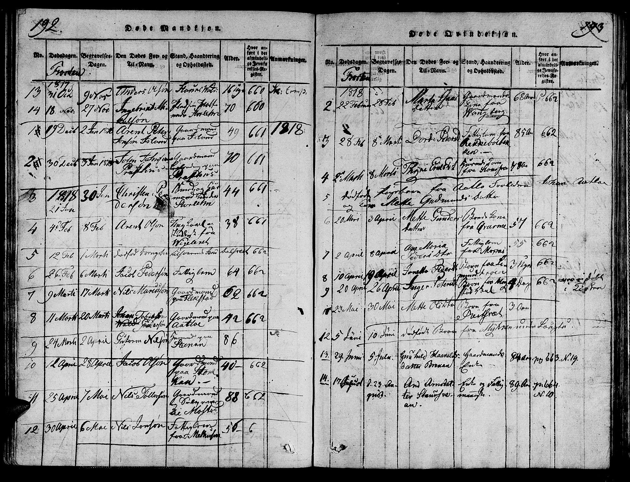 SAT, Ministerialprotokoller, klokkerbøker og fødselsregistre - Nord-Trøndelag, 713/L0112: Ministerialbok nr. 713A04 /1, 1817-1827, s. 192-193