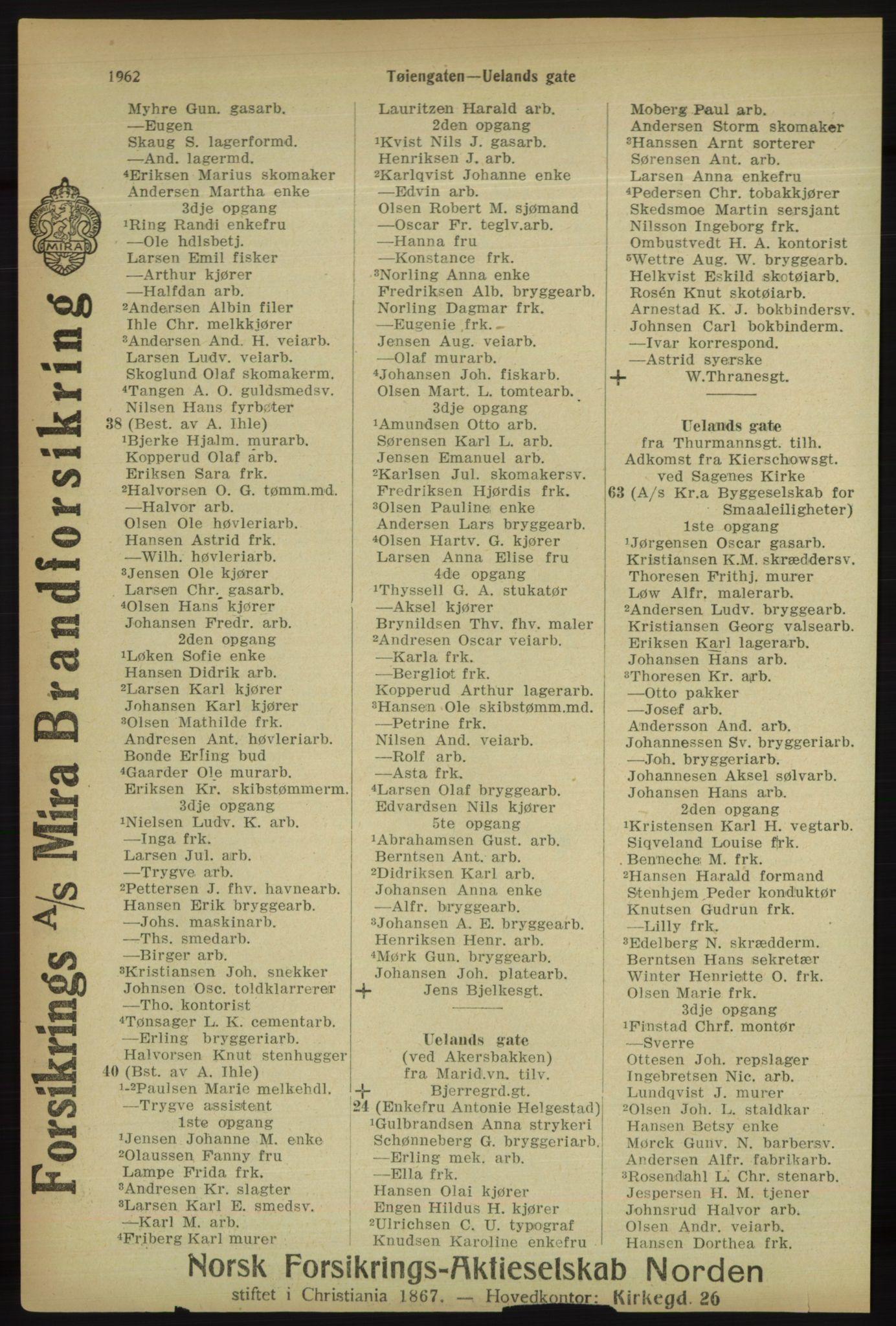 RA, Kristiania adressebok (publikasjon)*, 1918, s. 1962