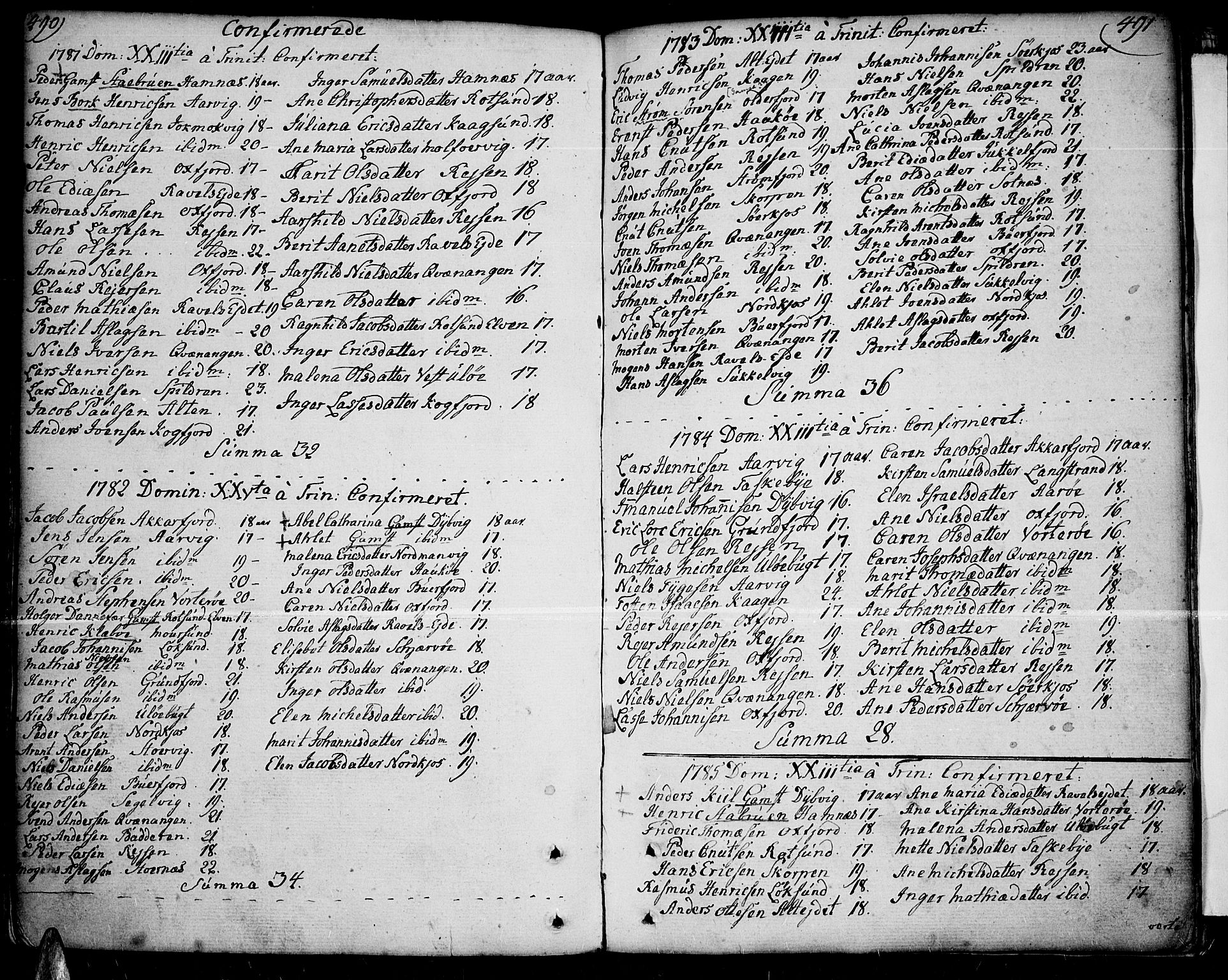 SATØ, Skjervøy sokneprestkontor, H/Ha/Haa/L0002kirke: Ministerialbok nr. 2, 1781-1817, s. 490-491