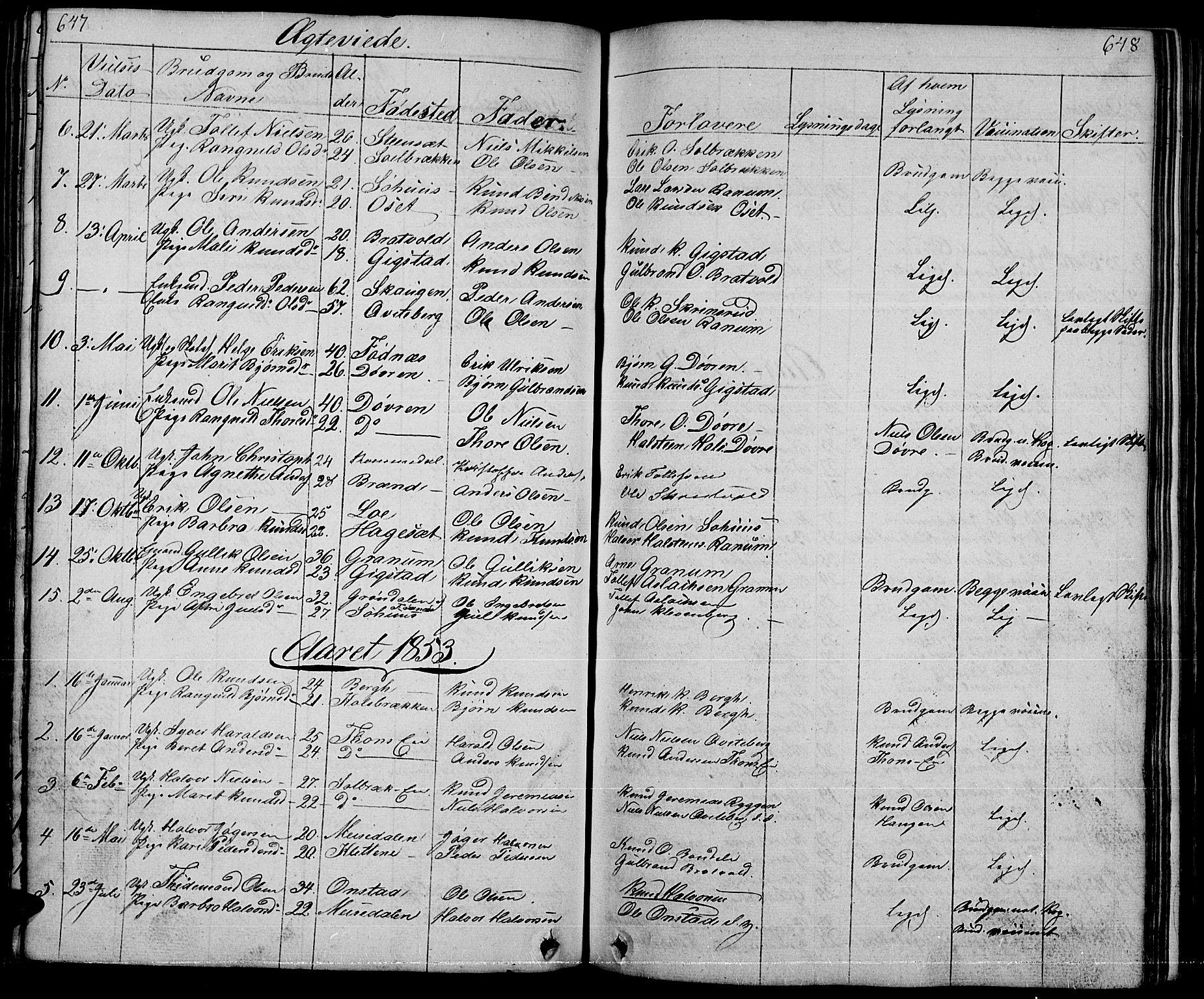 SAH, Nord-Aurdal prestekontor, Klokkerbok nr. 1, 1834-1887, s. 647-648