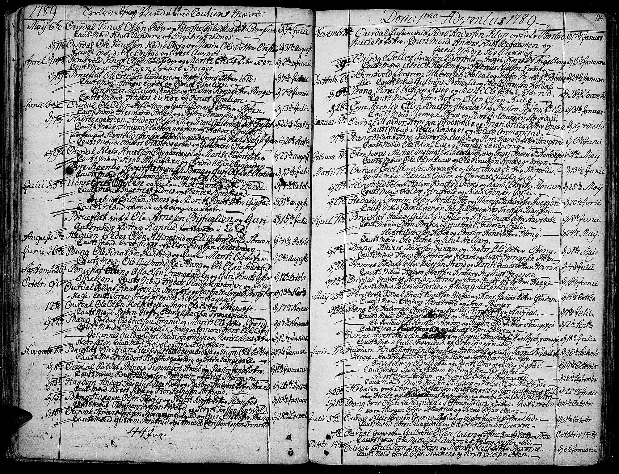 SAH, Aurdal prestekontor, Ministerialbok nr. 6, 1781-1804, s. 136