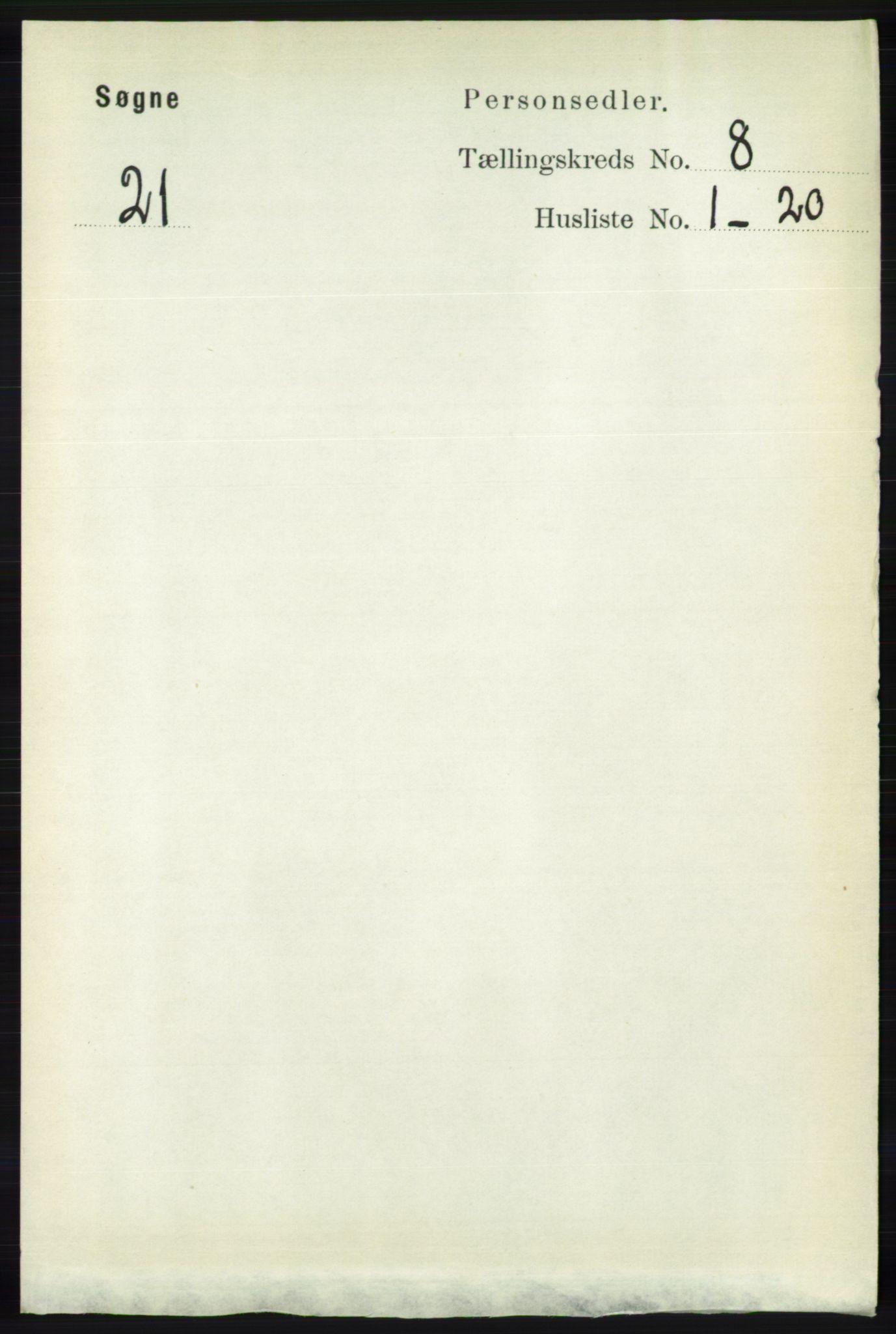 RA, Folketelling 1891 for 1018 Søgne herred, 1891, s. 2210