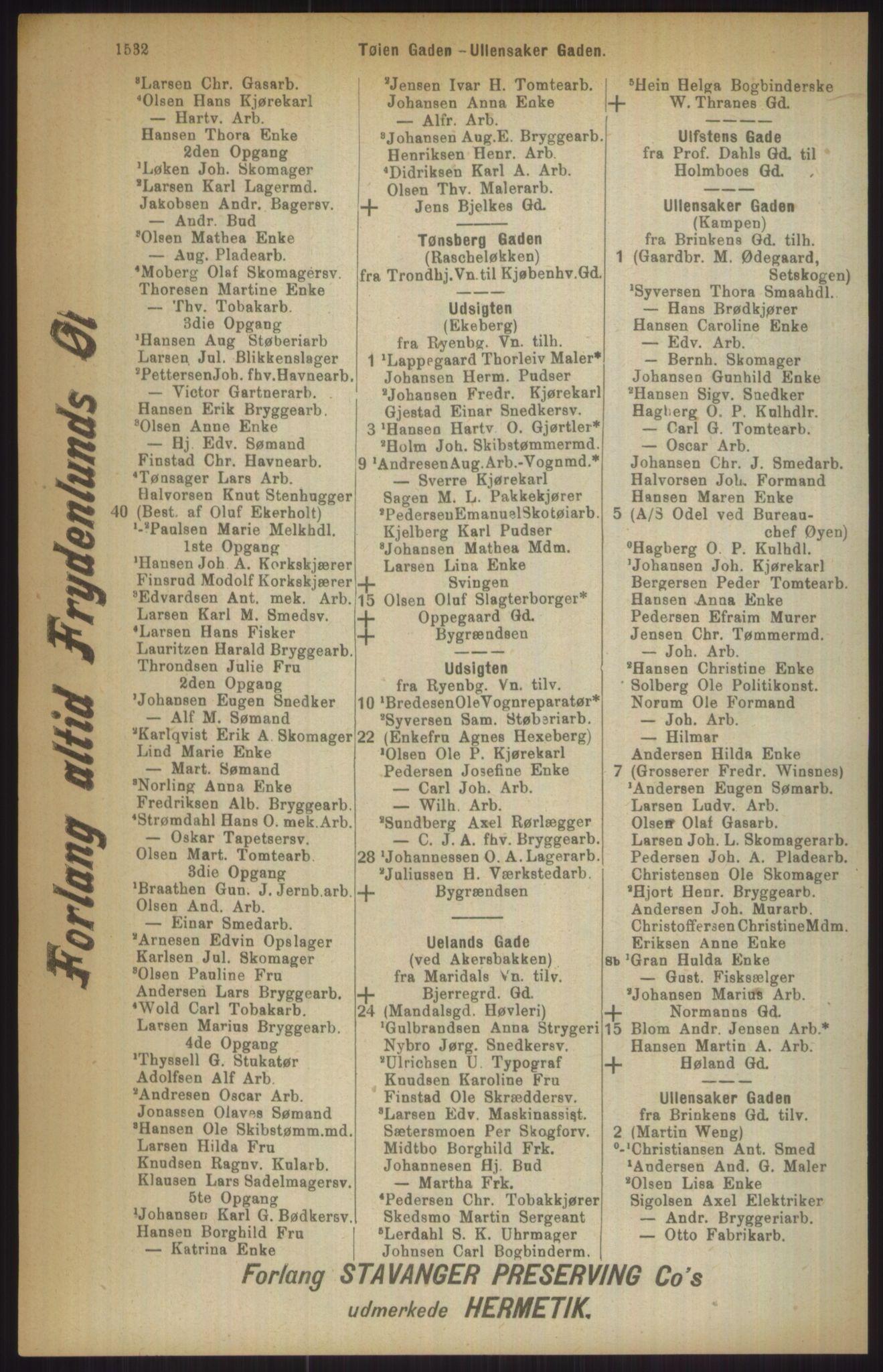 RA, Kristiania adressebok (publikasjon)*, 1911, s. 1532