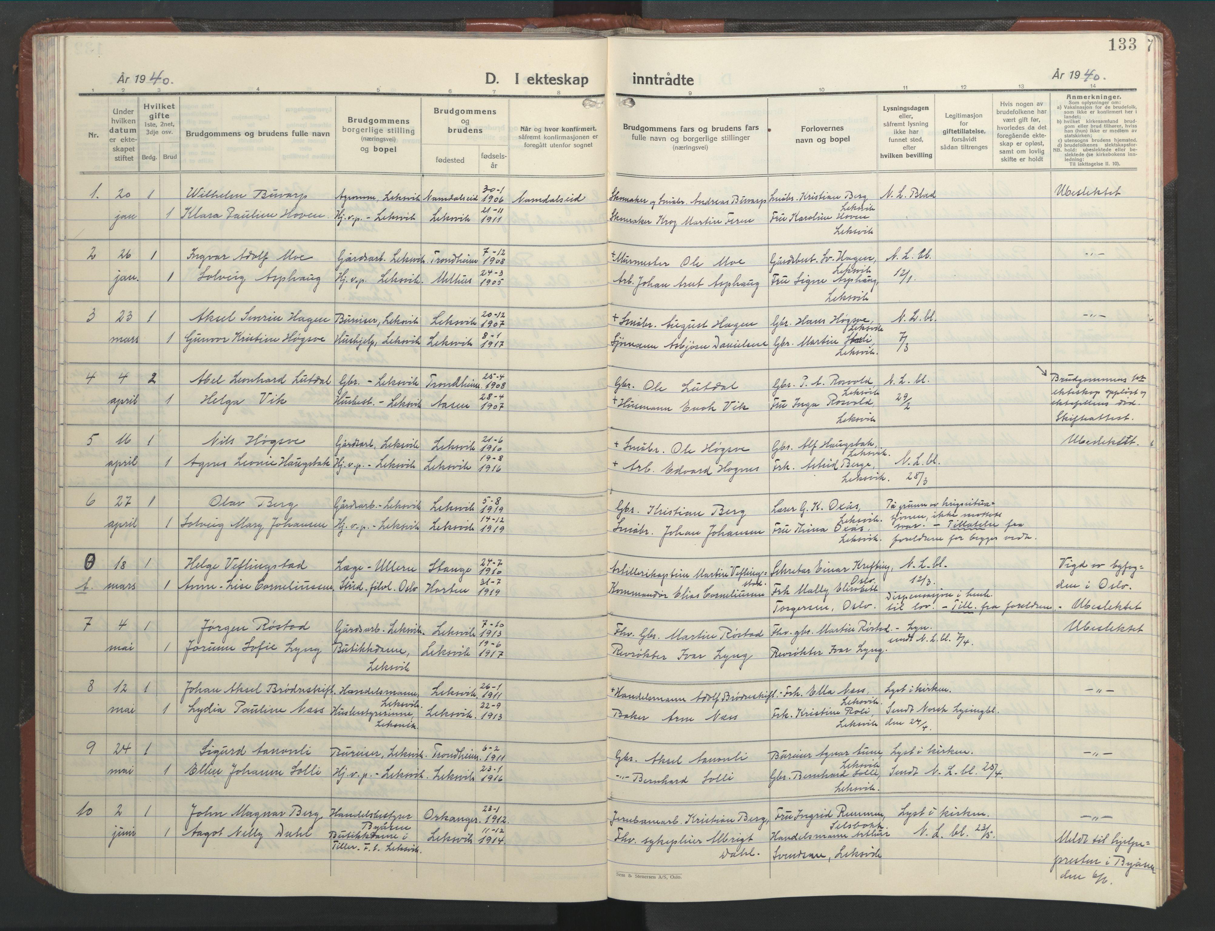SAT, Ministerialprotokoller, klokkerbøker og fødselsregistre - Nord-Trøndelag, 701/L0019: Klokkerbok nr. 701C03, 1930-1953, s. 133