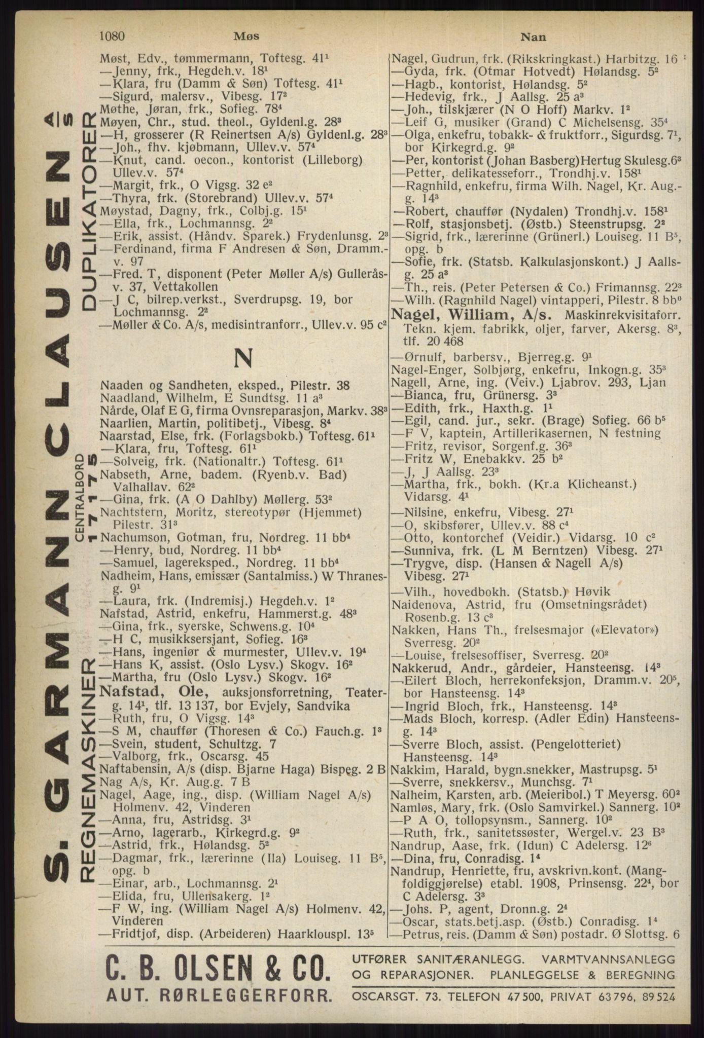 RA, Oslo adressebok (publikasjon)*, 1937, s. 1080