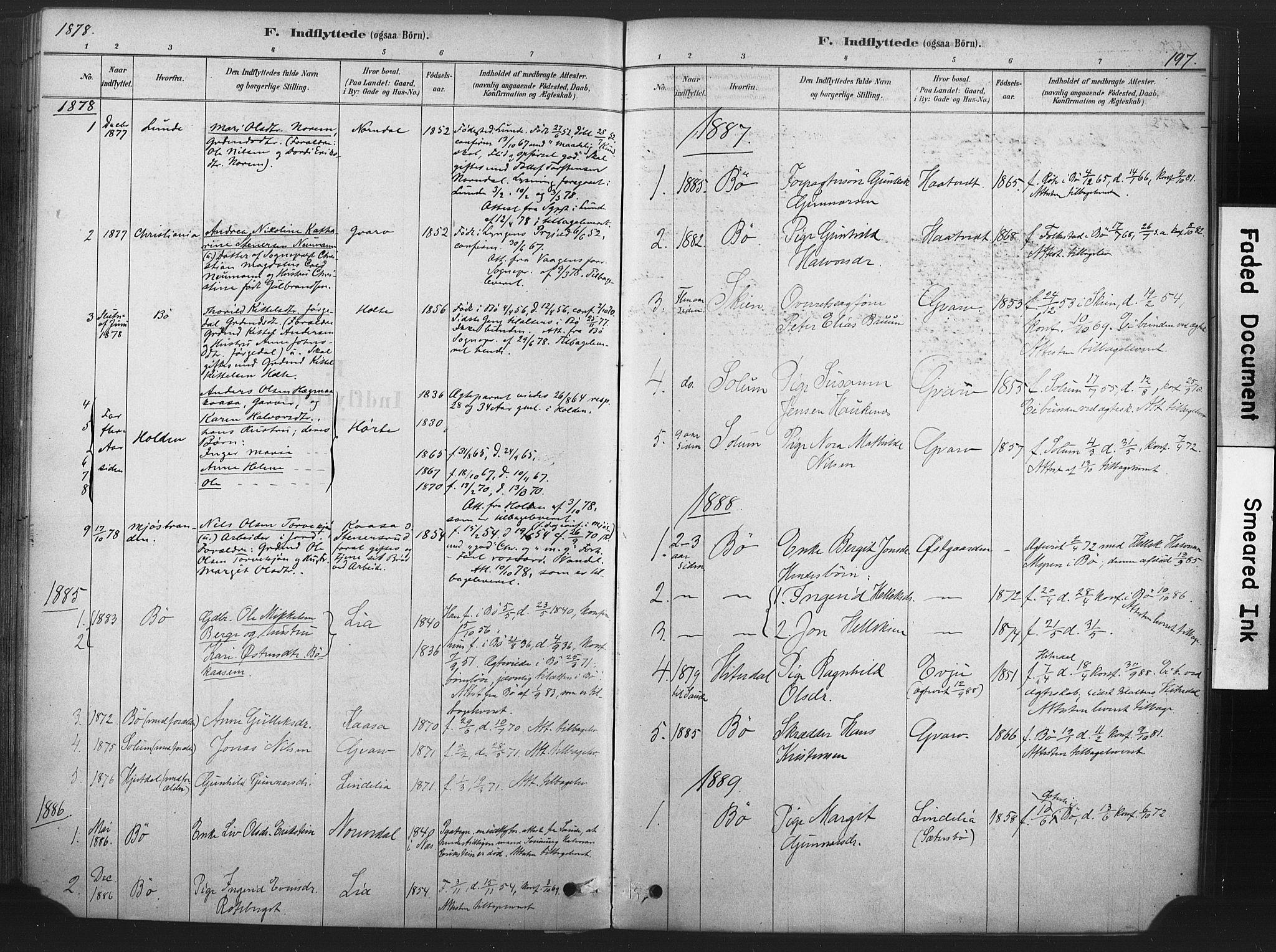 SAKO, Sauherad kirkebøker, F/Fb/L0002: Ministerialbok nr. II 2, 1878-1901, s. 197