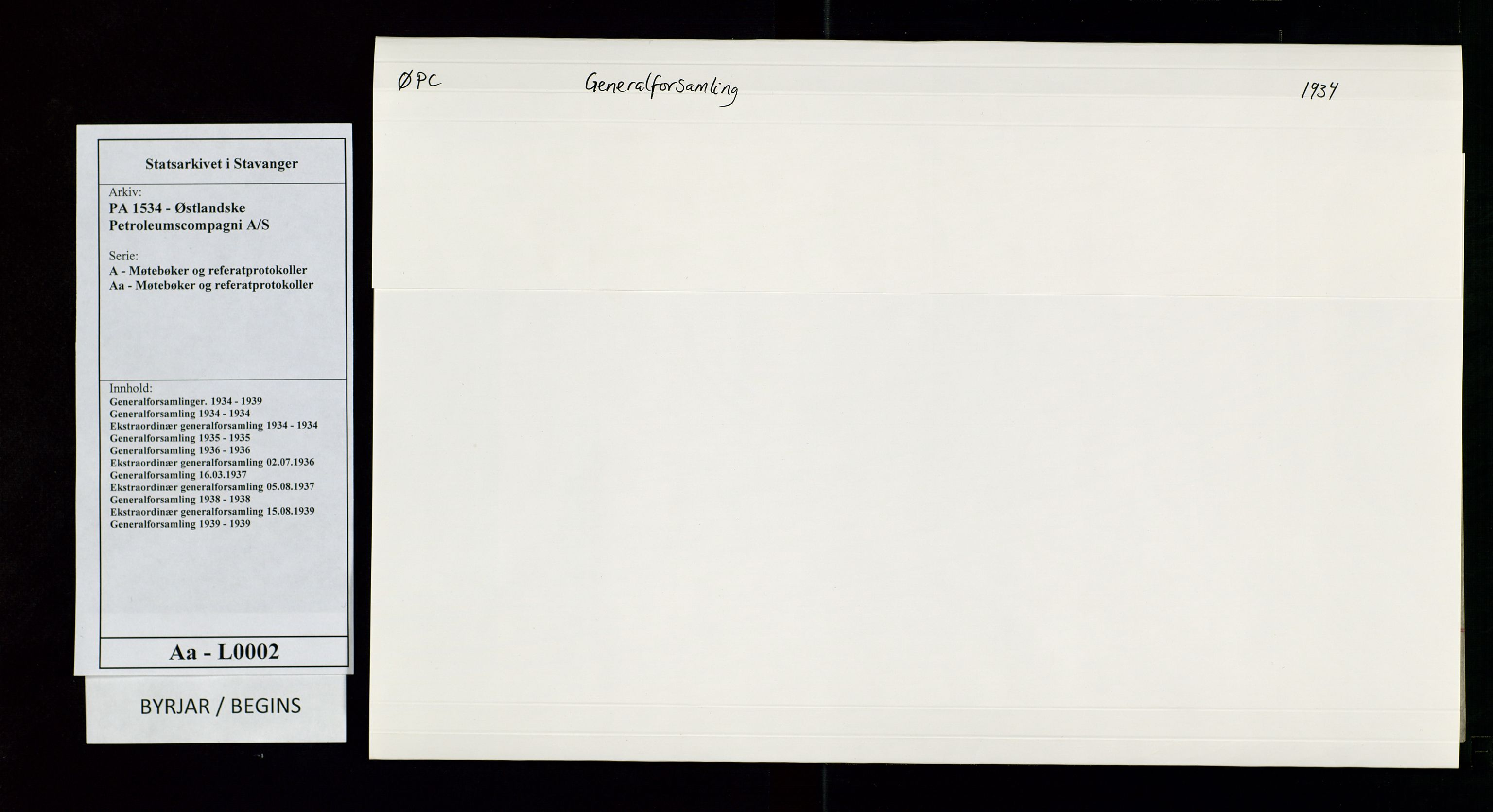 SAST, PA 1534 - Østlandske Petroleumscompagni A/S, A/Aa/L0002: Generalforsamlinger., 1934, s. 1