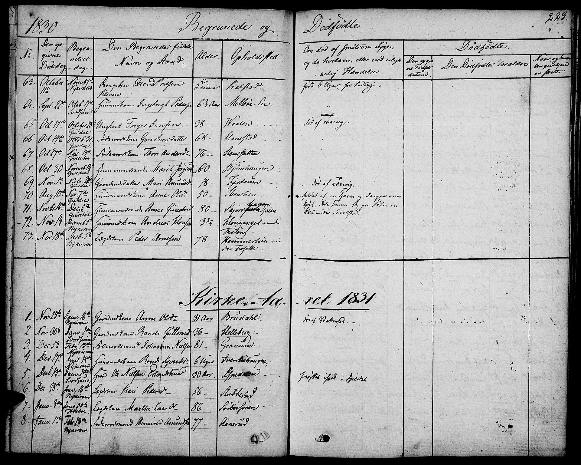 SAH, Gausdal prestekontor, Ministerialbok nr. 6, 1830-1839, s. 223