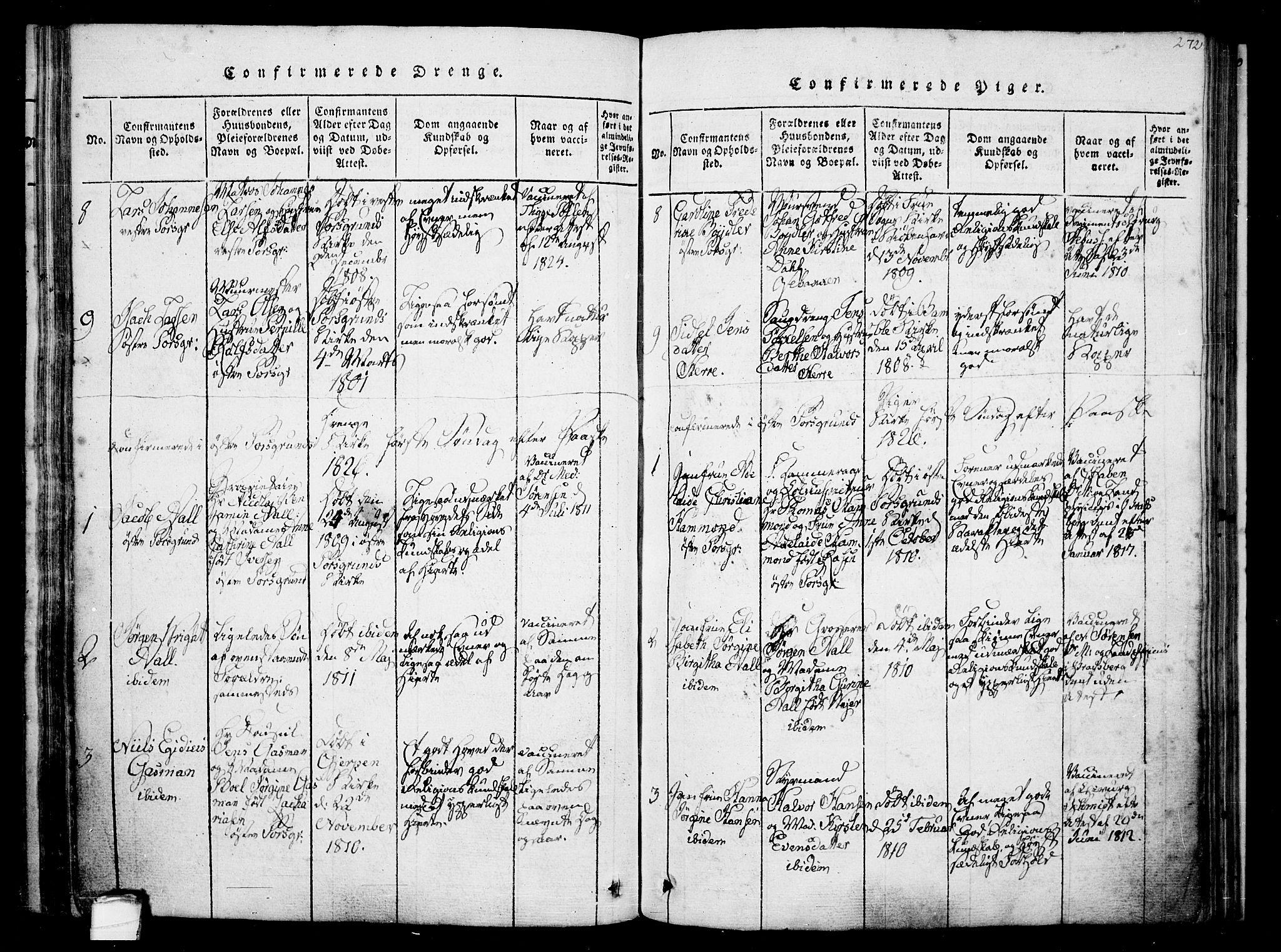 SAKO, Porsgrunn kirkebøker , F/Fa/L0004: Ministerialbok nr. 4, 1814-1828, s. 272