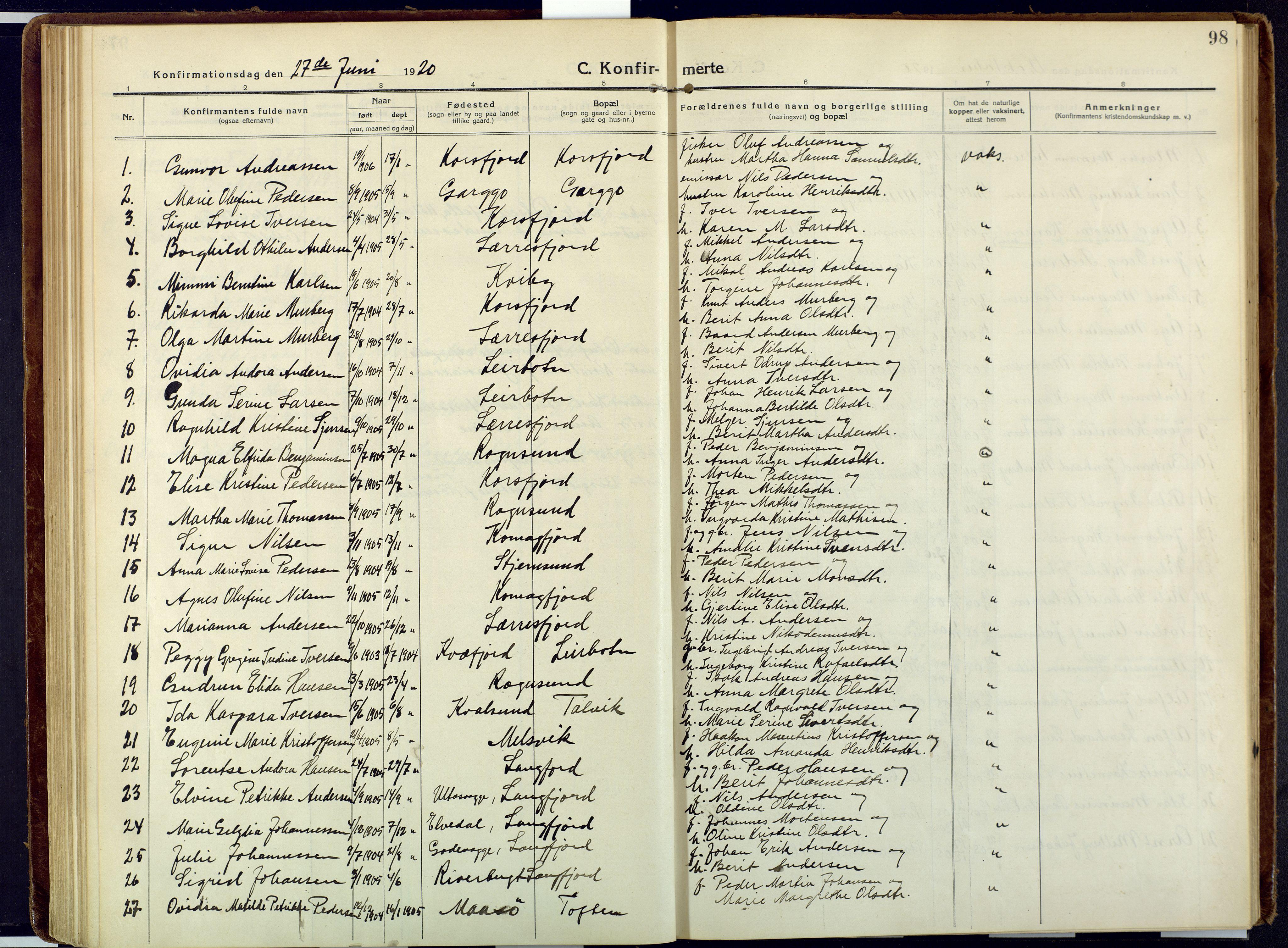 SATØ, Talvik sokneprestkontor, H/Ha/L0018kirke: Ministerialbok nr. 18, 1915-1924, s. 98