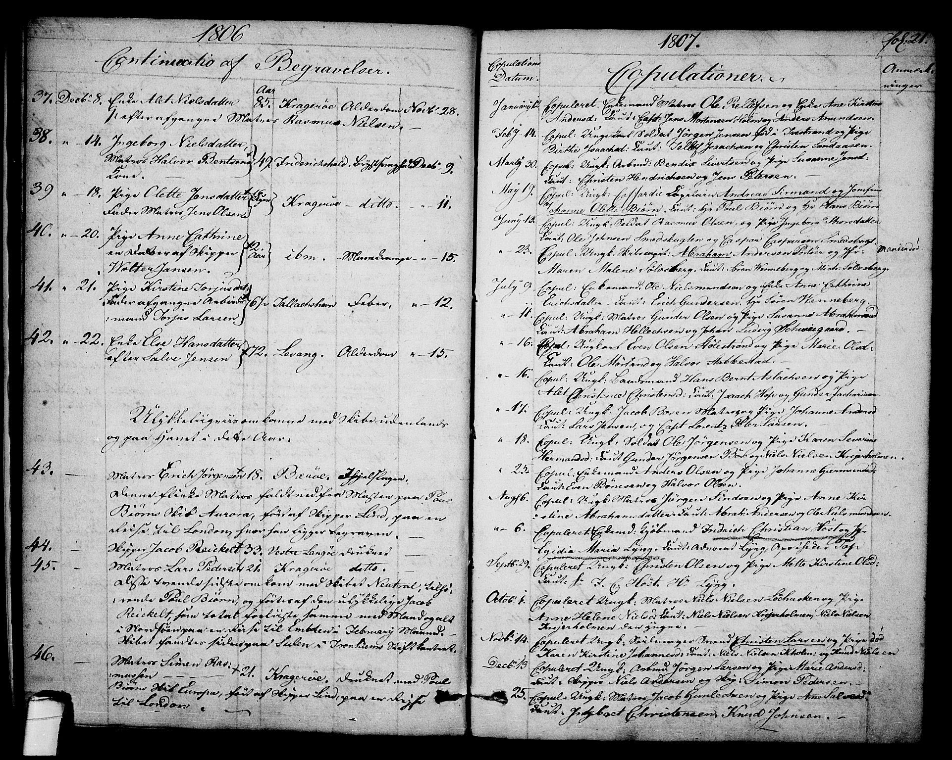 SAKO, Kragerø kirkebøker, F/Fa/L0003: Ministerialbok nr. 3, 1802-1813, s. 21