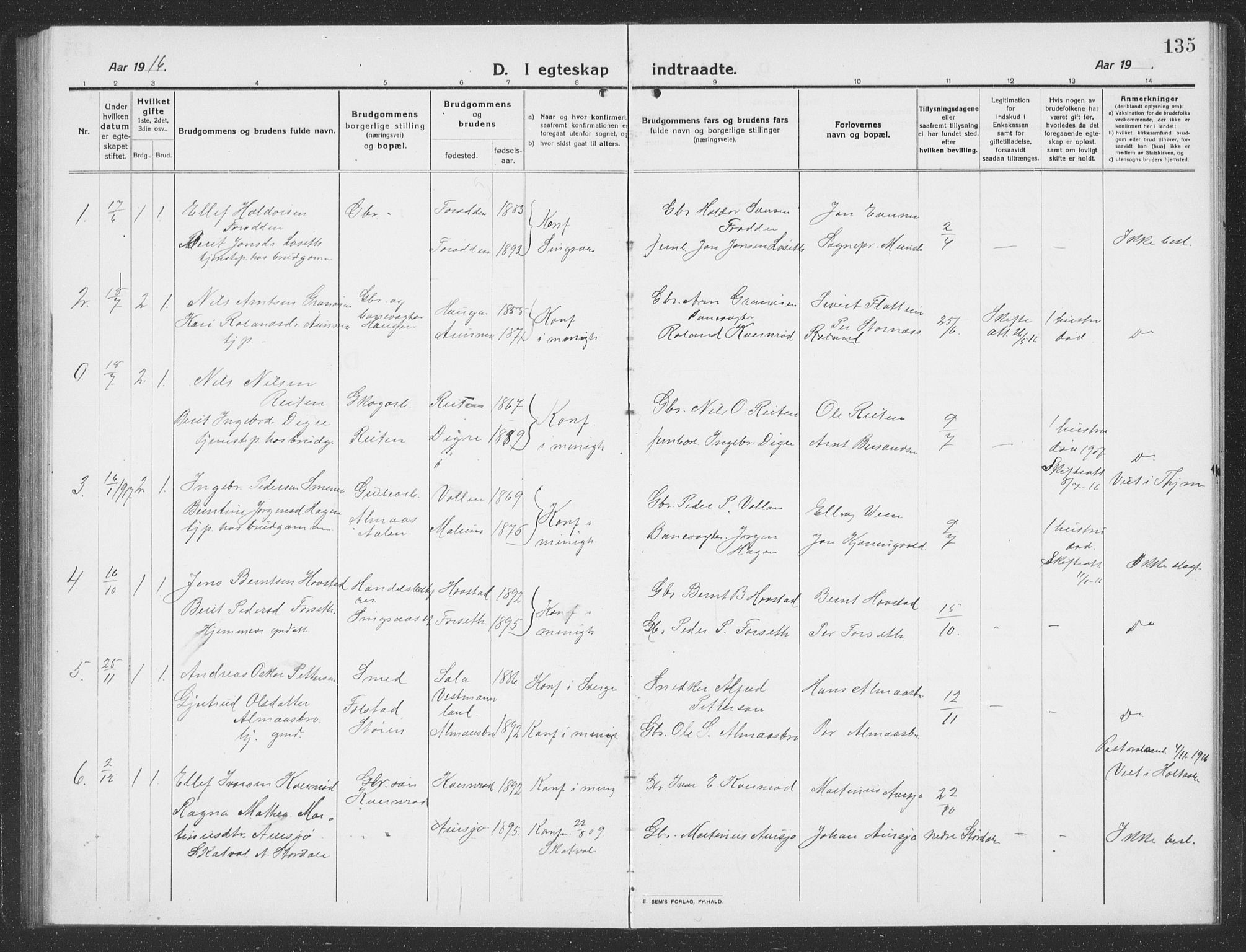 SAT, Ministerialprotokoller, klokkerbøker og fødselsregistre - Sør-Trøndelag, 688/L1030: Klokkerbok nr. 688C05, 1916-1939, s. 135