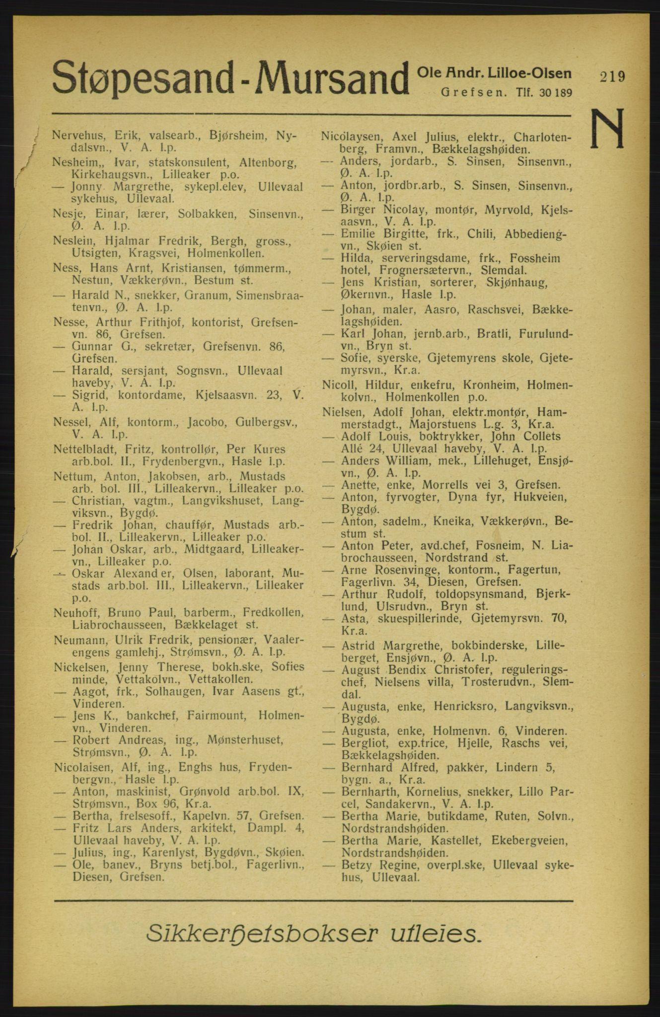 PUBL, Aker adressebok/adressekalender, 1922, s. 219