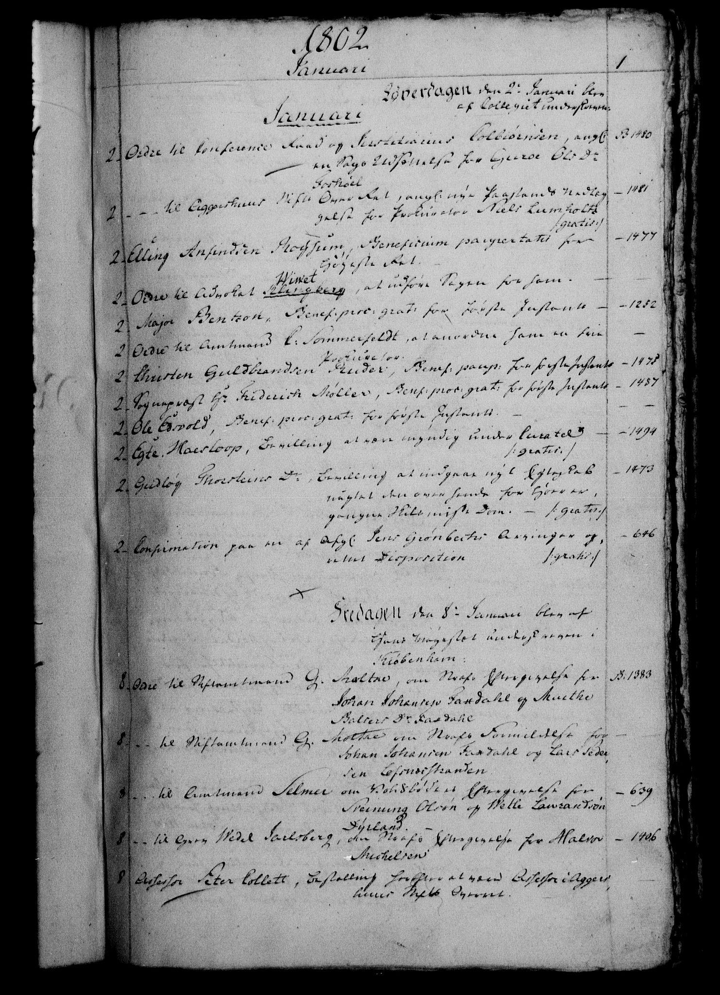 RA, Danske Kanselli 1800-1814, H/Hf/Hfb/Hfbc/L0003: Underskrivelsesbok m. register, 1802, s. 1