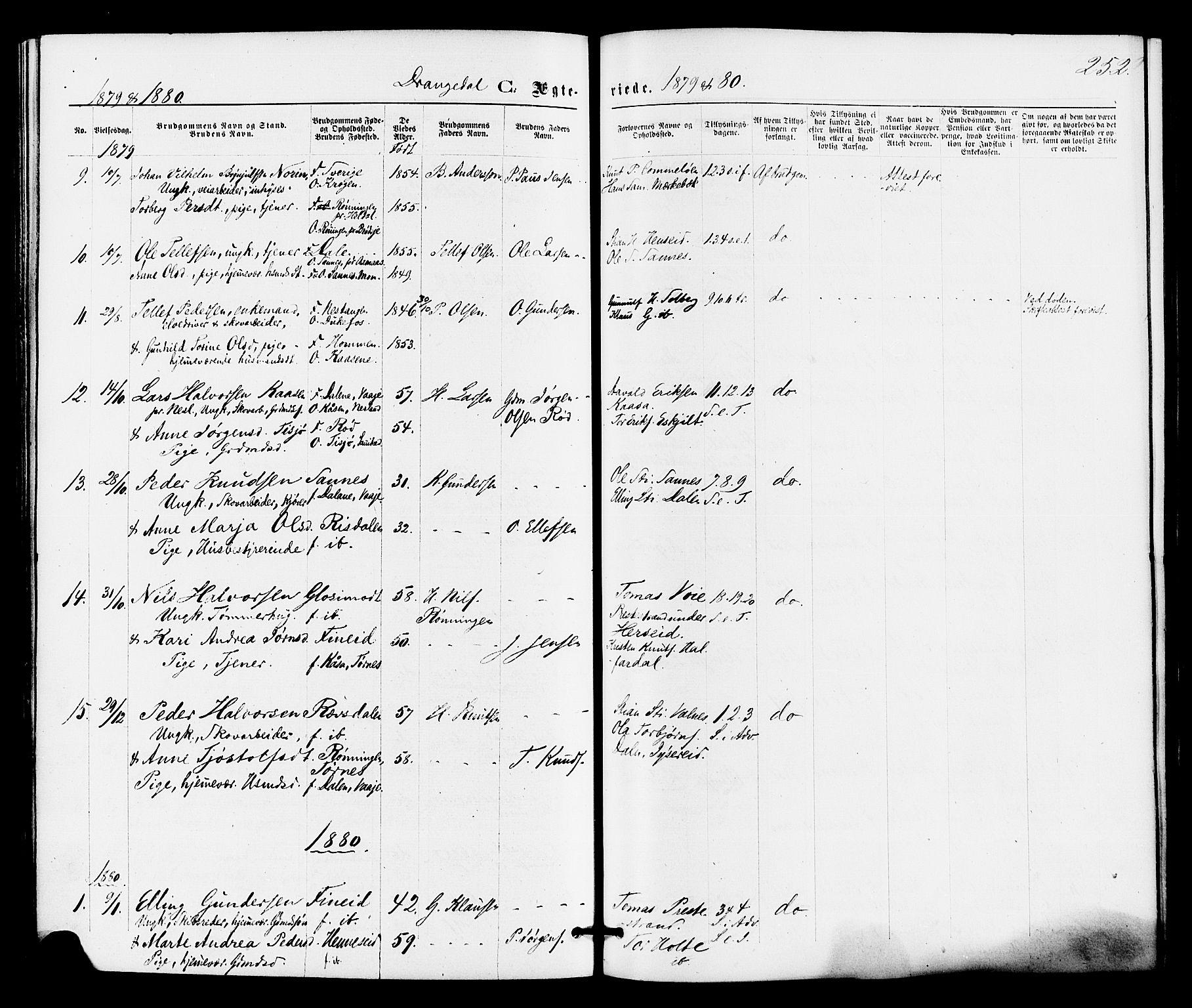 SAKO, Drangedal kirkebøker, F/Fa/L0009: Ministerialbok nr. 9 /1, 1872-1884, s. 252