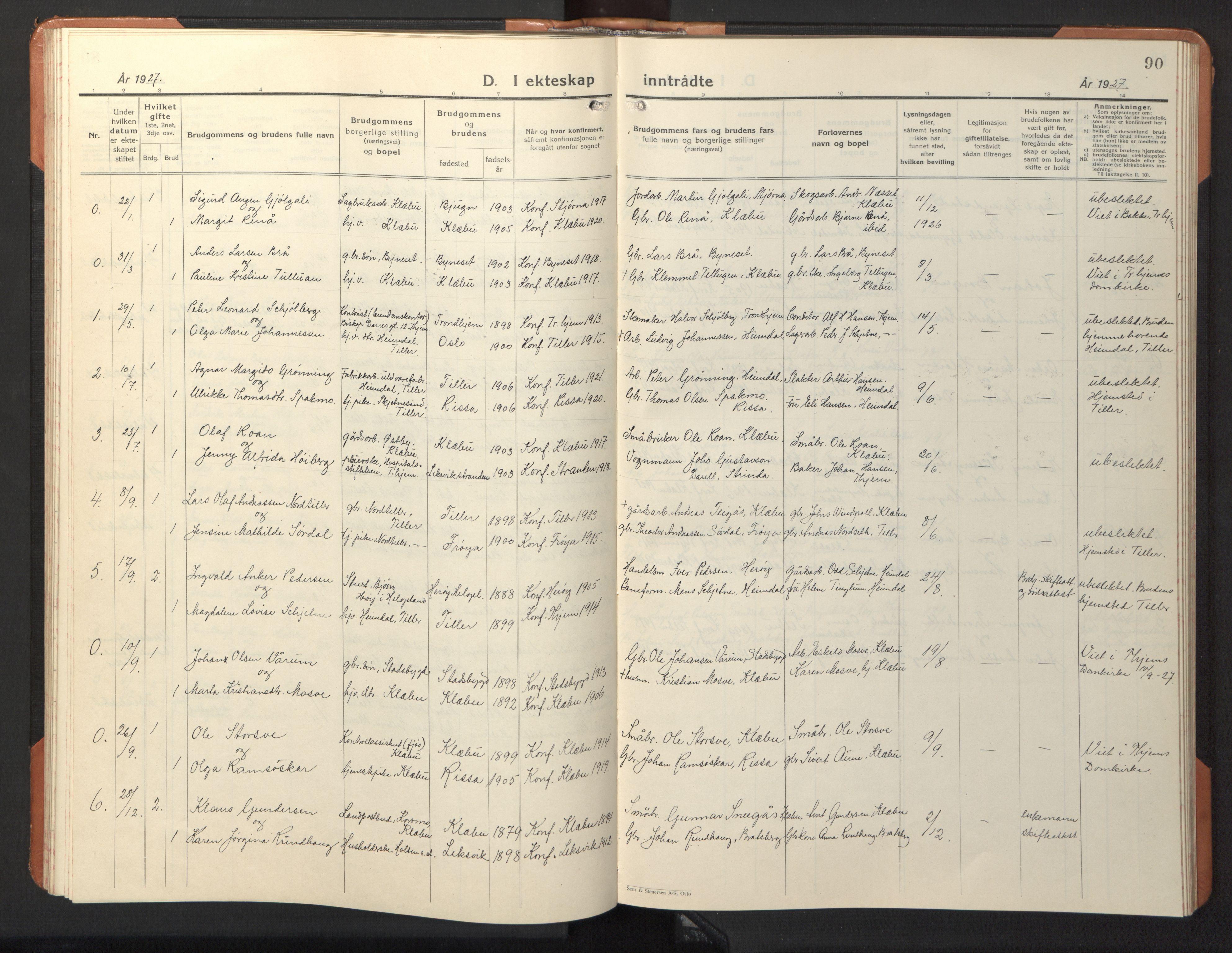 SAT, Ministerialprotokoller, klokkerbøker og fødselsregistre - Sør-Trøndelag, 618/L0454: Klokkerbok nr. 618C05, 1926-1946, s. 90