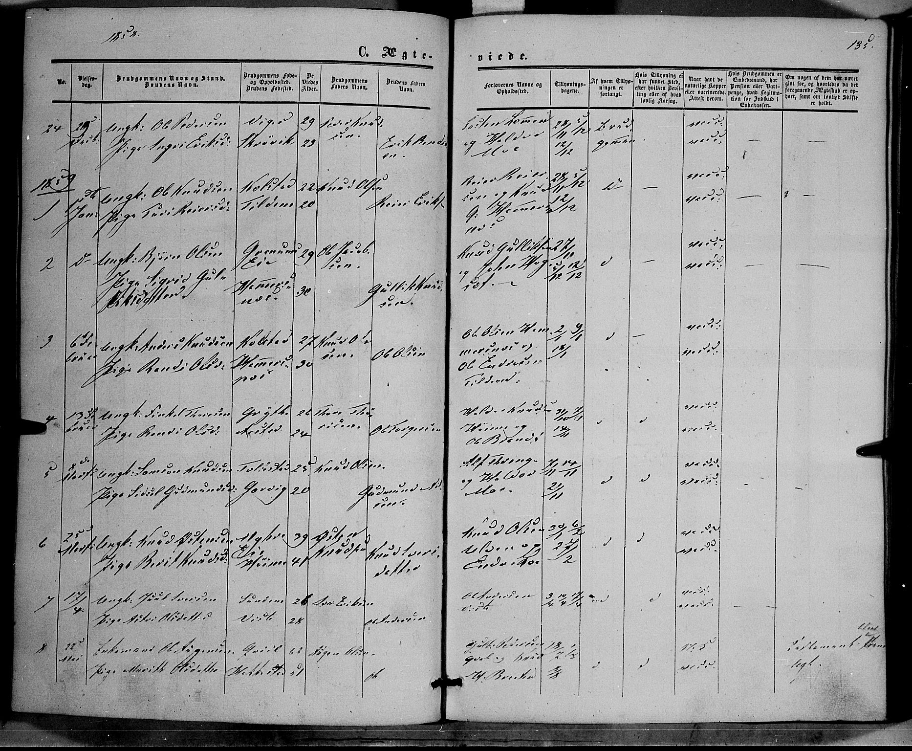 SAH, Vestre Slidre prestekontor, Ministerialbok nr. 2, 1856-1864, s. 135