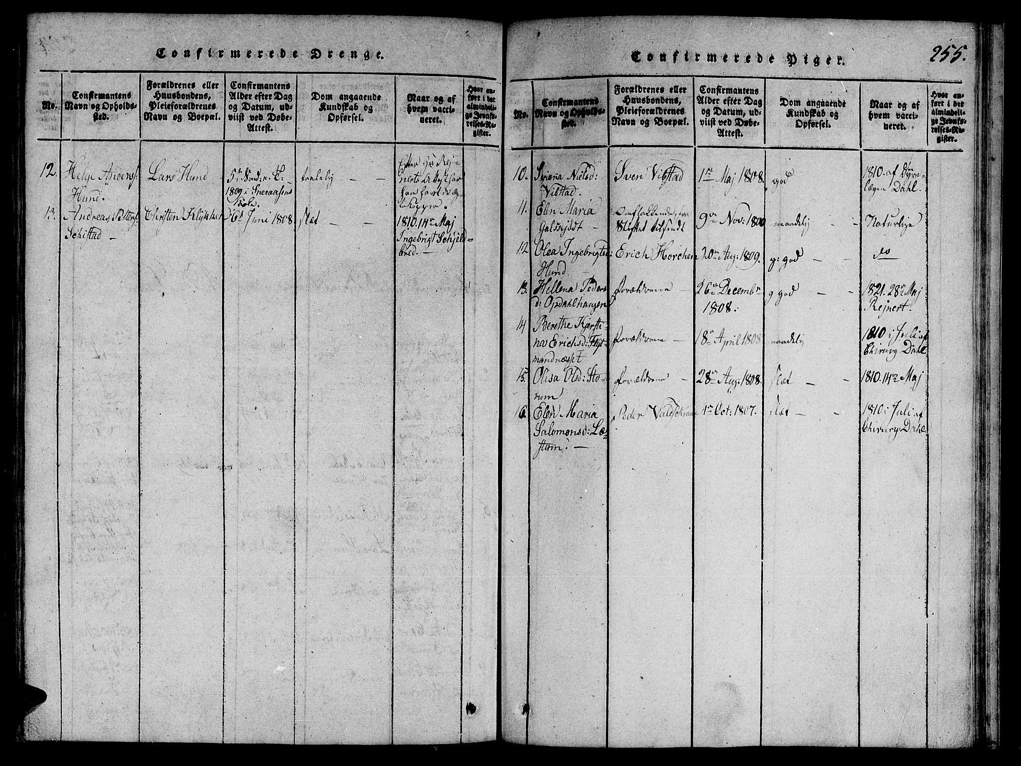 SAT, Ministerialprotokoller, klokkerbøker og fødselsregistre - Nord-Trøndelag, 764/L0546: Ministerialbok nr. 764A06 /1, 1816-1823, s. 255