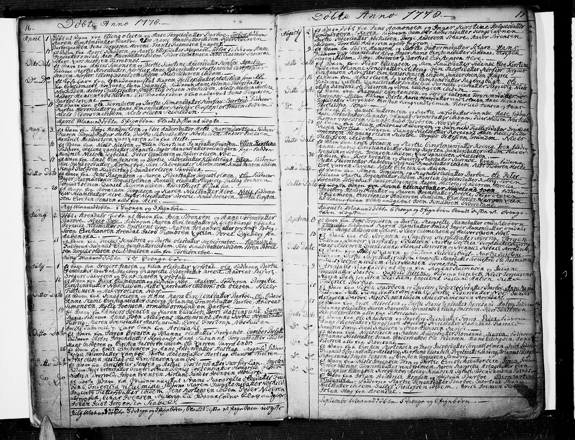 SAK, Tromøy sokneprestkontor, F/Fa/L0002: Ministerialbok nr. A 2, 1773-1808, s. 16-17