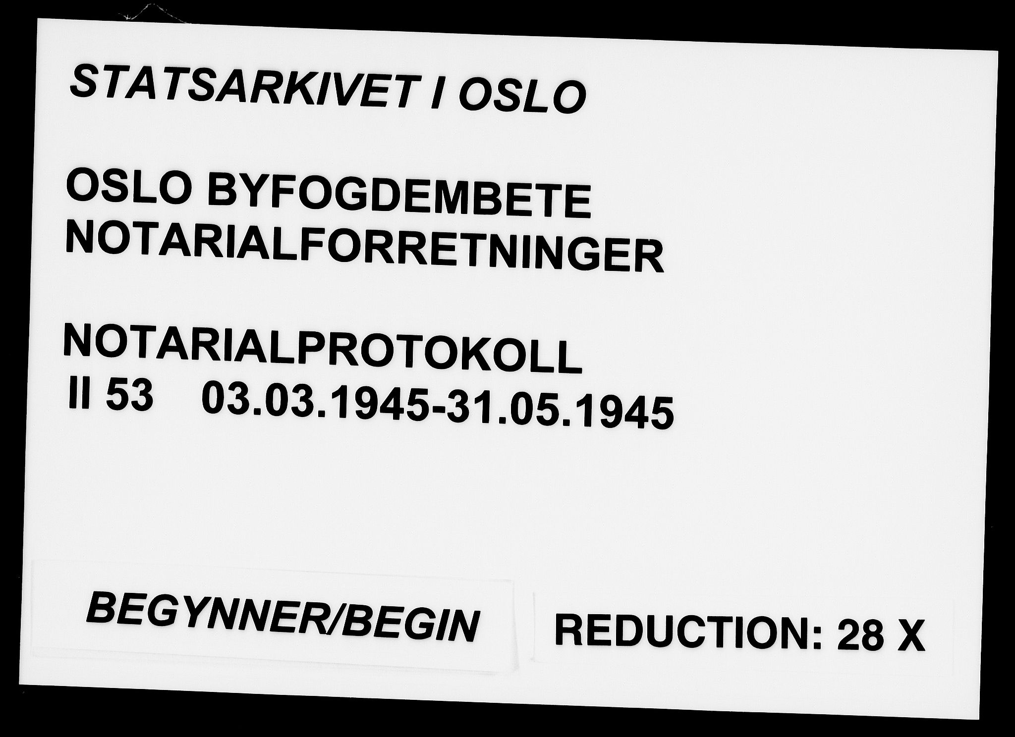 SAO, Oslo byfogd avd. I, L/Lb/Lbb/L0053: Notarialprotokoll, rekke II: Vigsler, 1945, s. upaginert