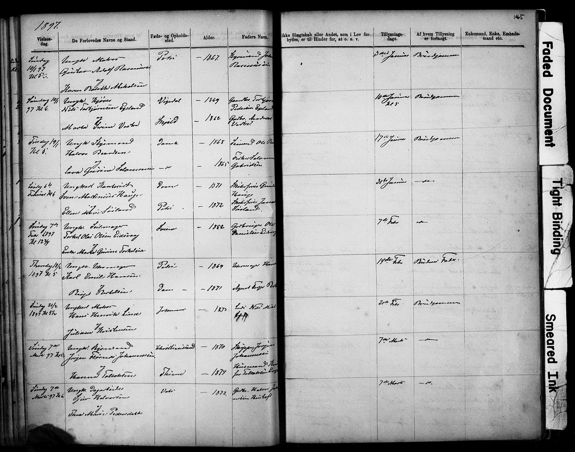 SAST, Domkirken sokneprestkontor, 30/30BB/L0014: Klokkerbok nr. B 14, 1875-1902, s. 145