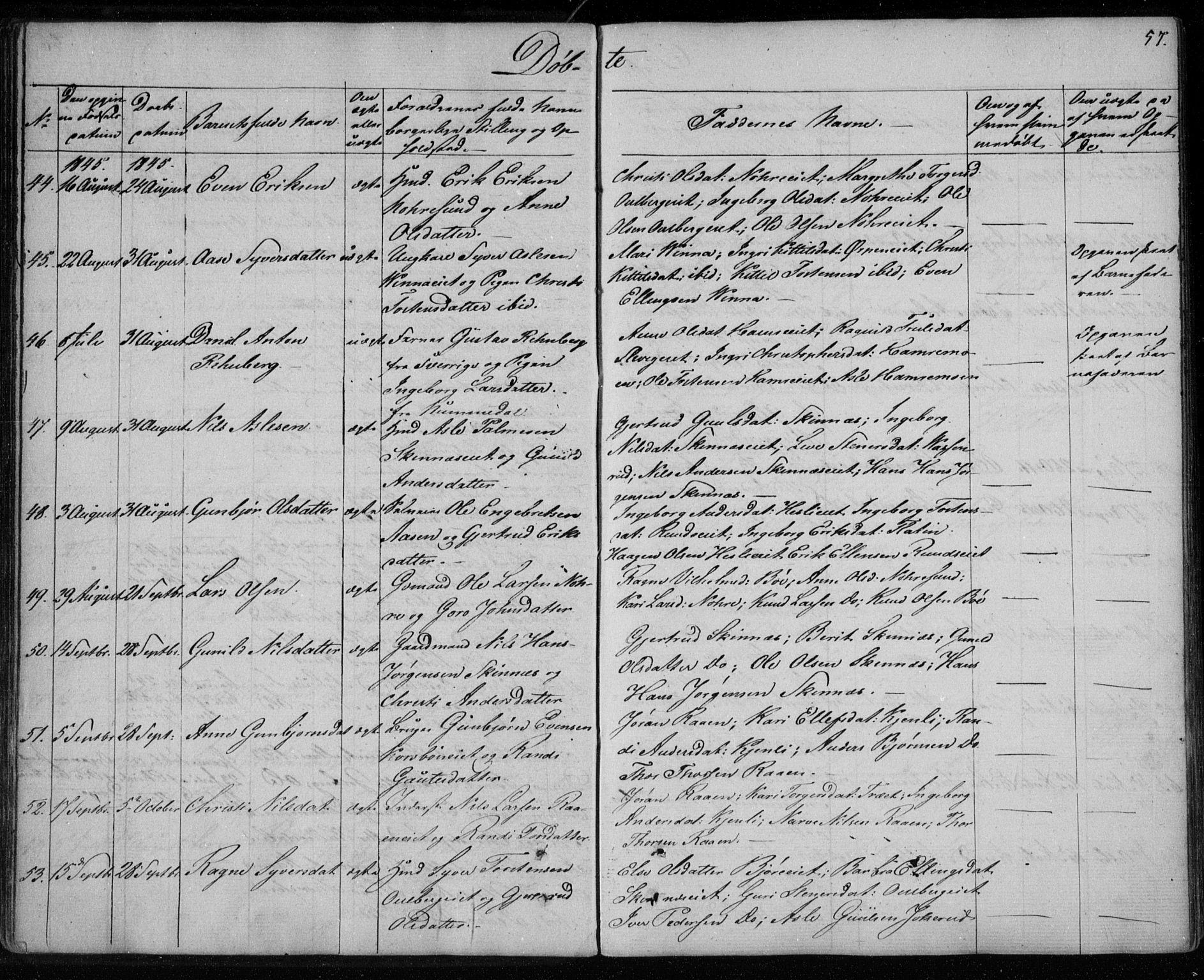 SAKO, Krødsherad kirkebøker, F/Fa/L0002: Ministerialbok nr. 2, 1829-1851, s. 57