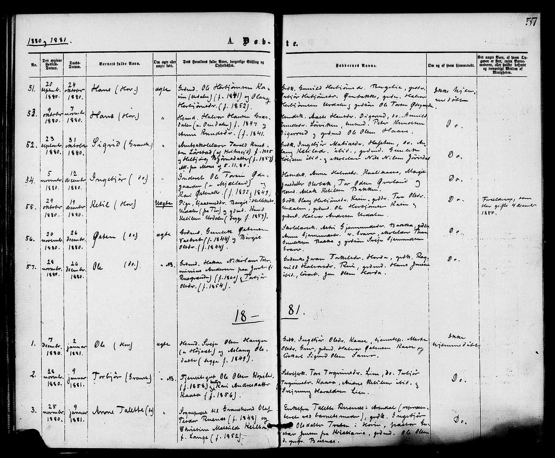 SAKO, Gransherad kirkebøker, F/Fa/L0004: Ministerialbok nr. I 4, 1871-1886, s. 57