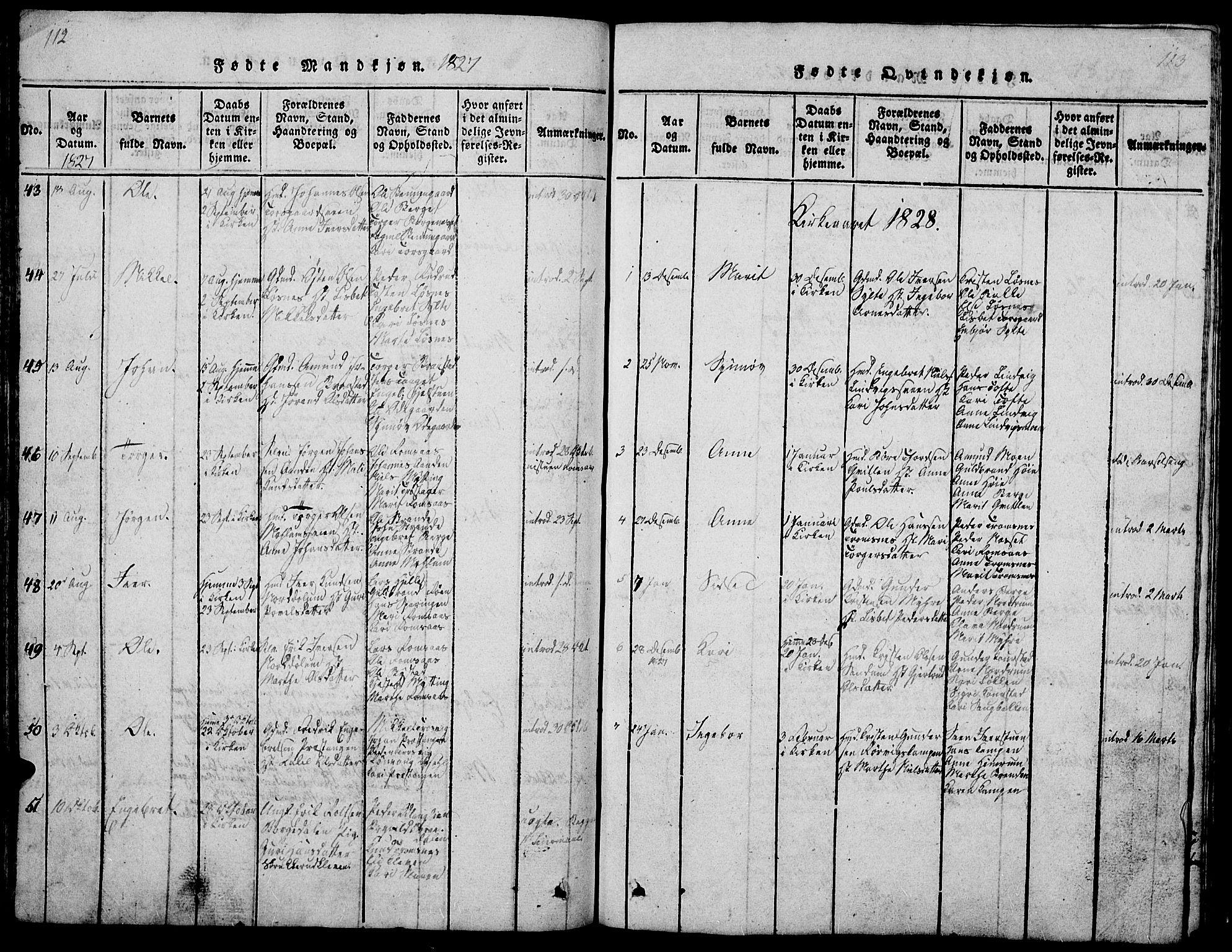 SAH, Ringebu prestekontor, Klokkerbok nr. 1, 1821-1839, s. 112-113